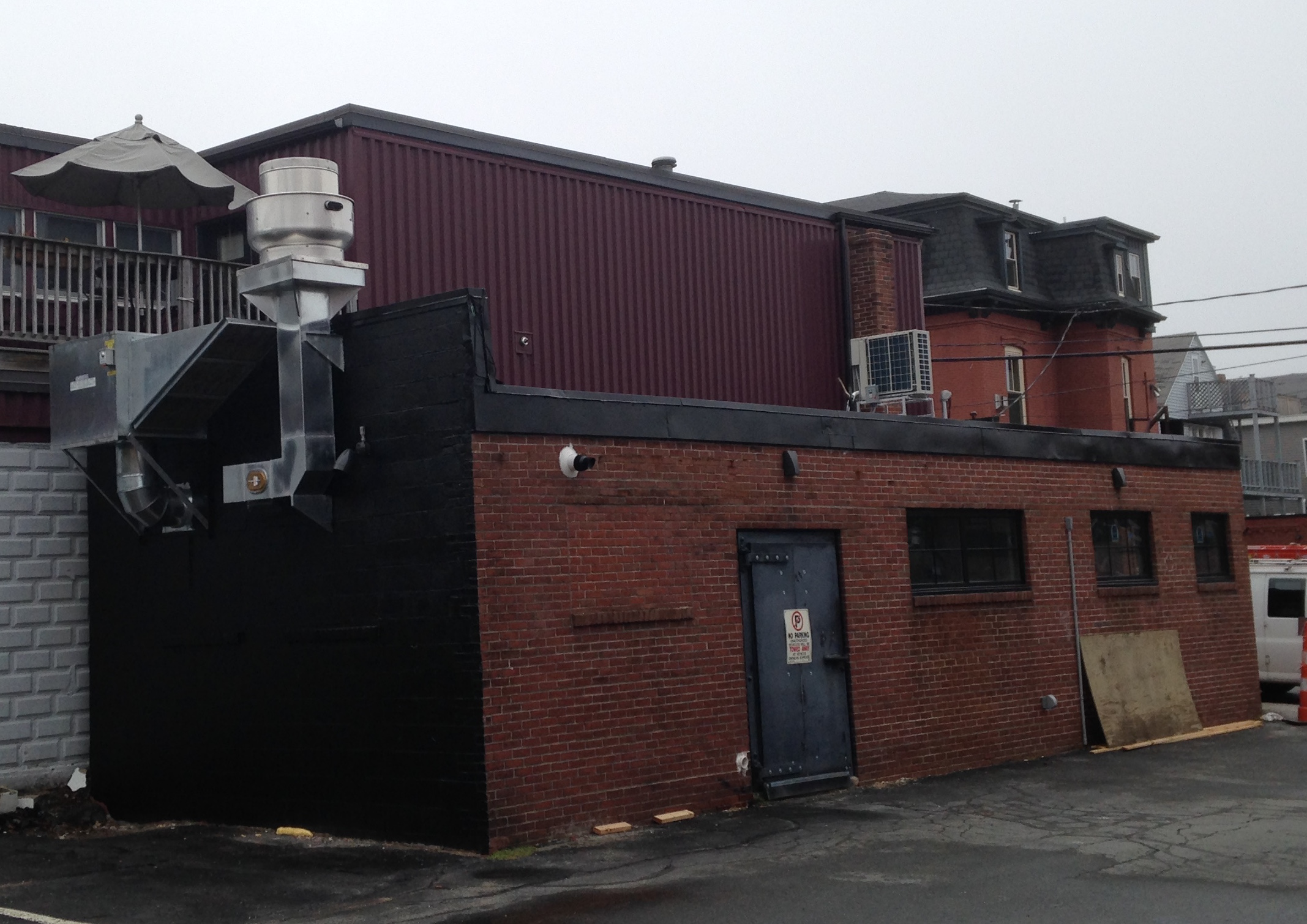 The back of Tomaso's Canteen in Portland, as seen from Franklin Street.