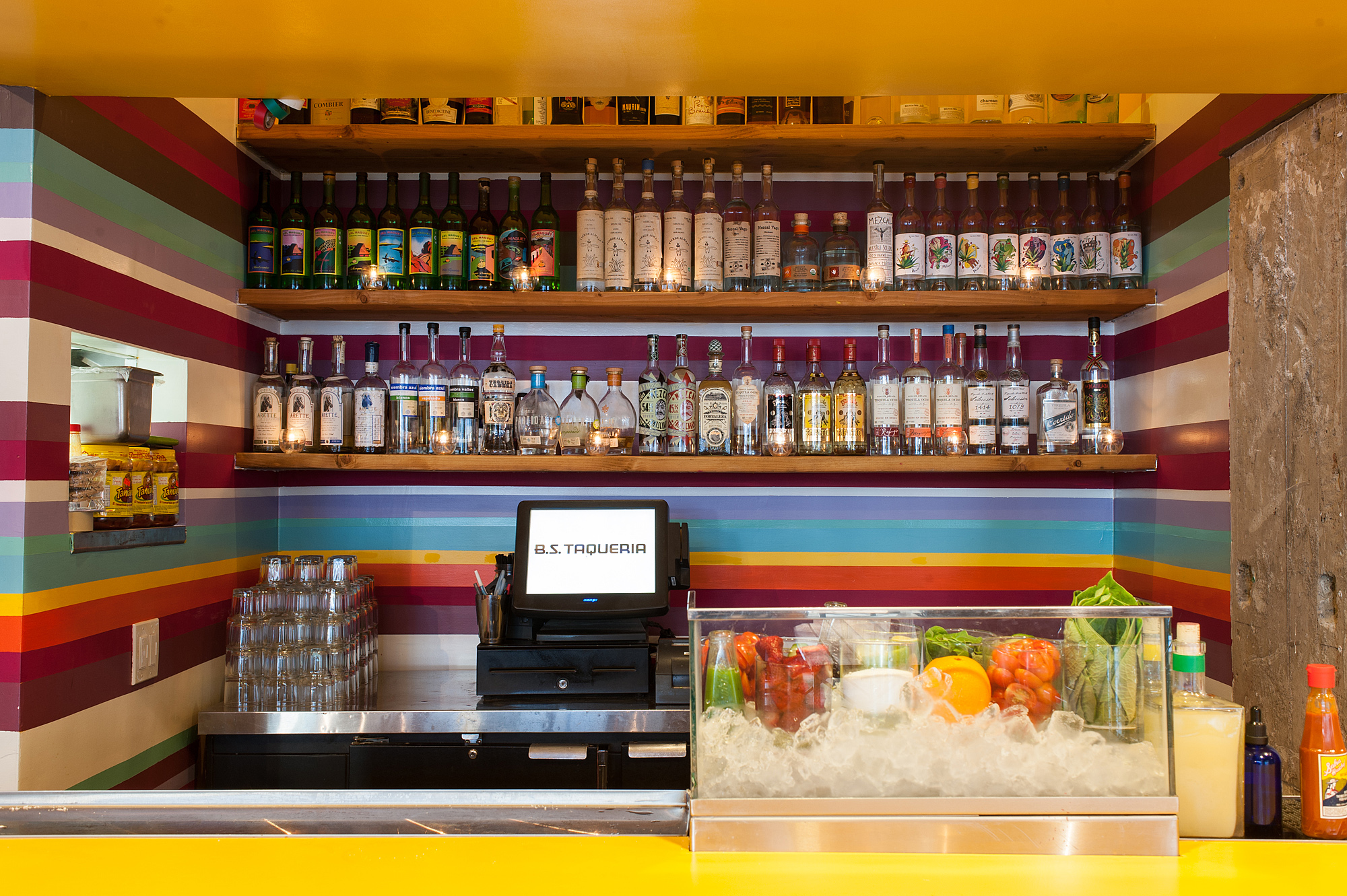 The bar at B.S. Taqueria, Downtown