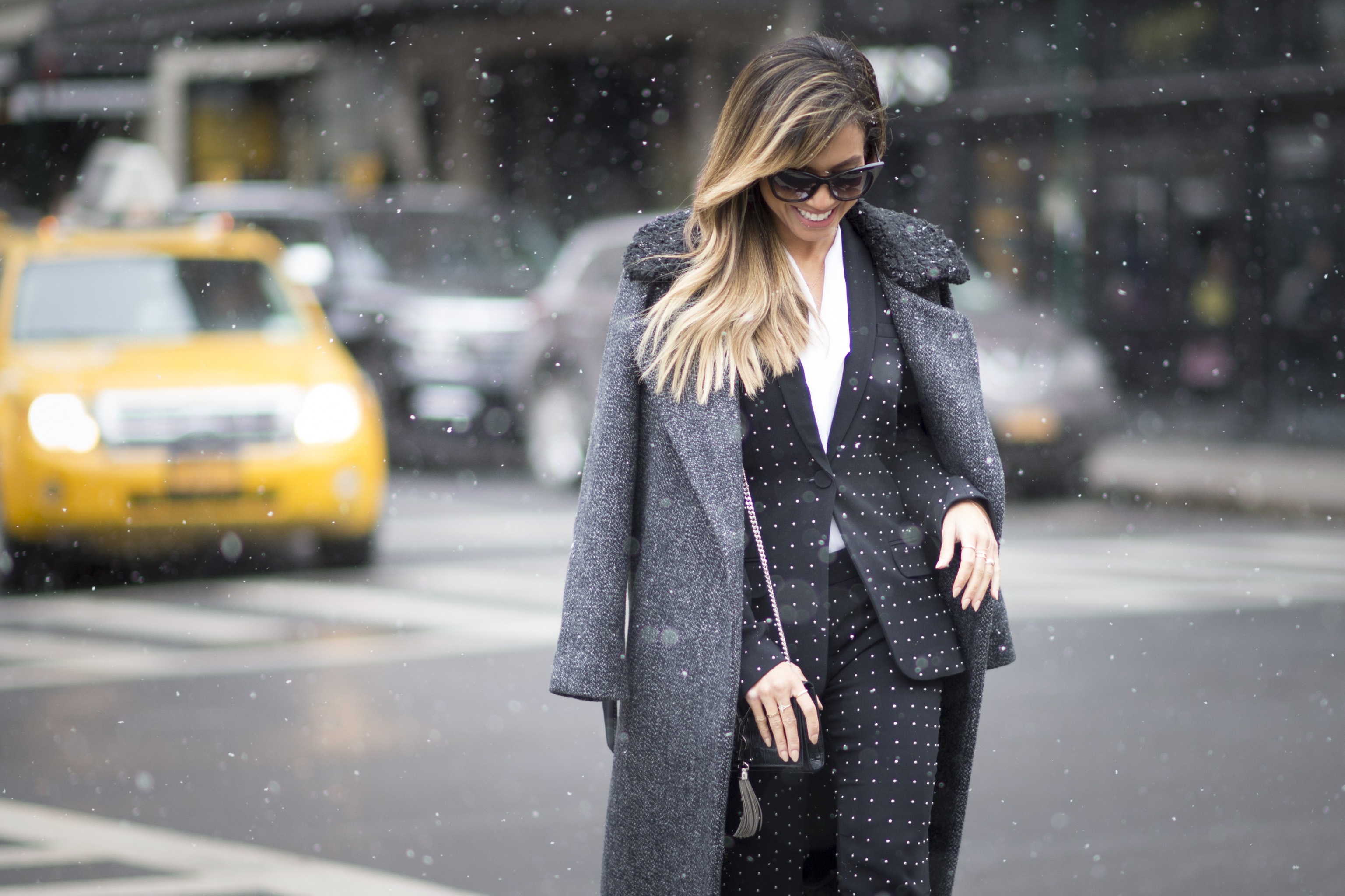 A Sandro coat spotted at NYFW in February