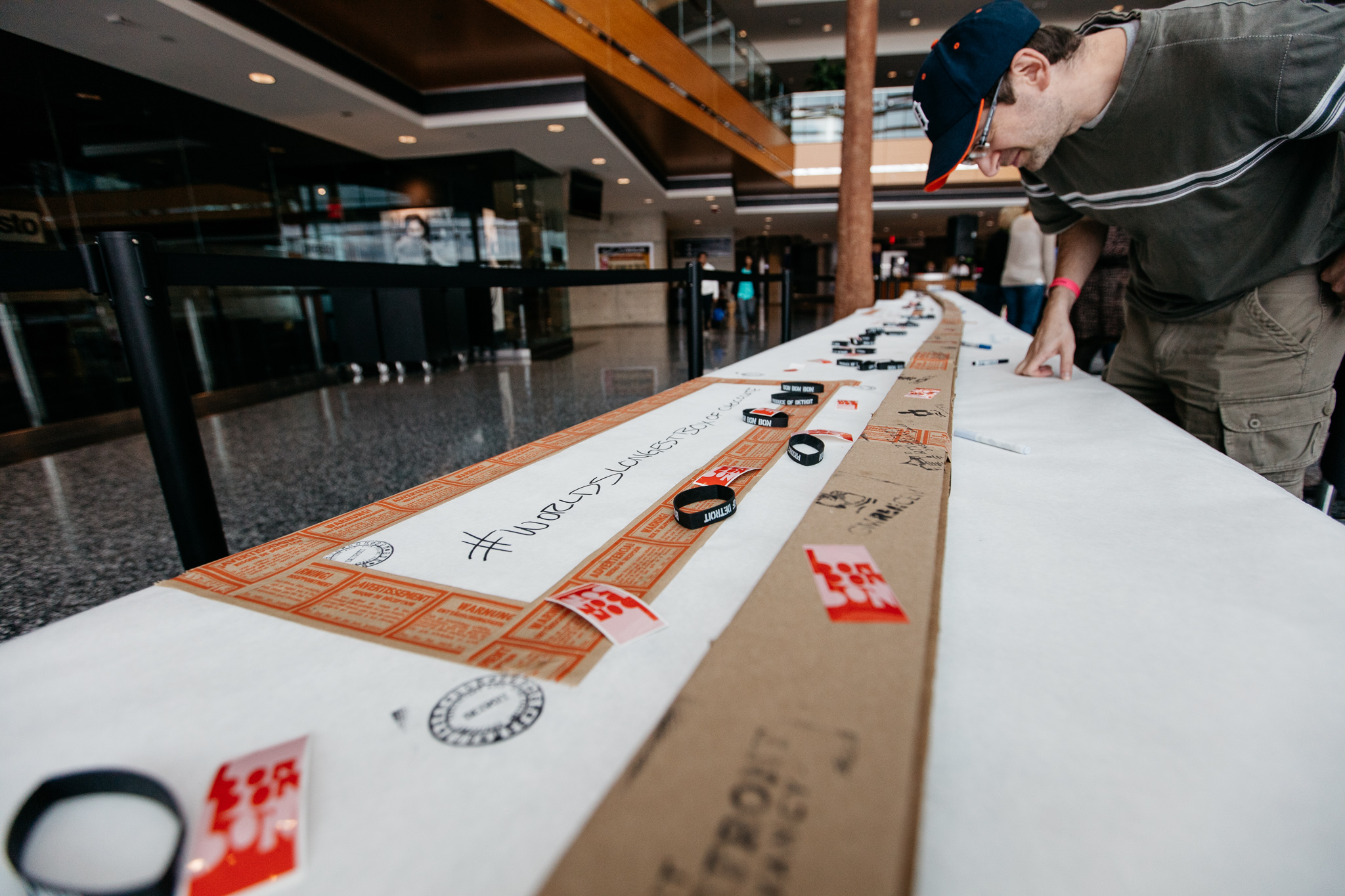 Visitors were encouraged to sign the chocolate box on display at the Renaissance Center.
