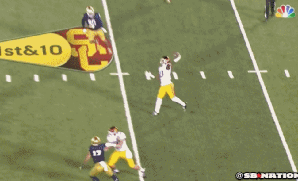USC pulled within one score of Notre Dame with this sweet double pass