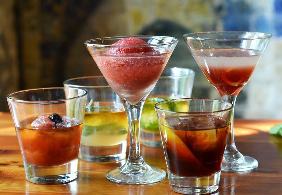 Swift's Attic's ice ball cocktail (center)