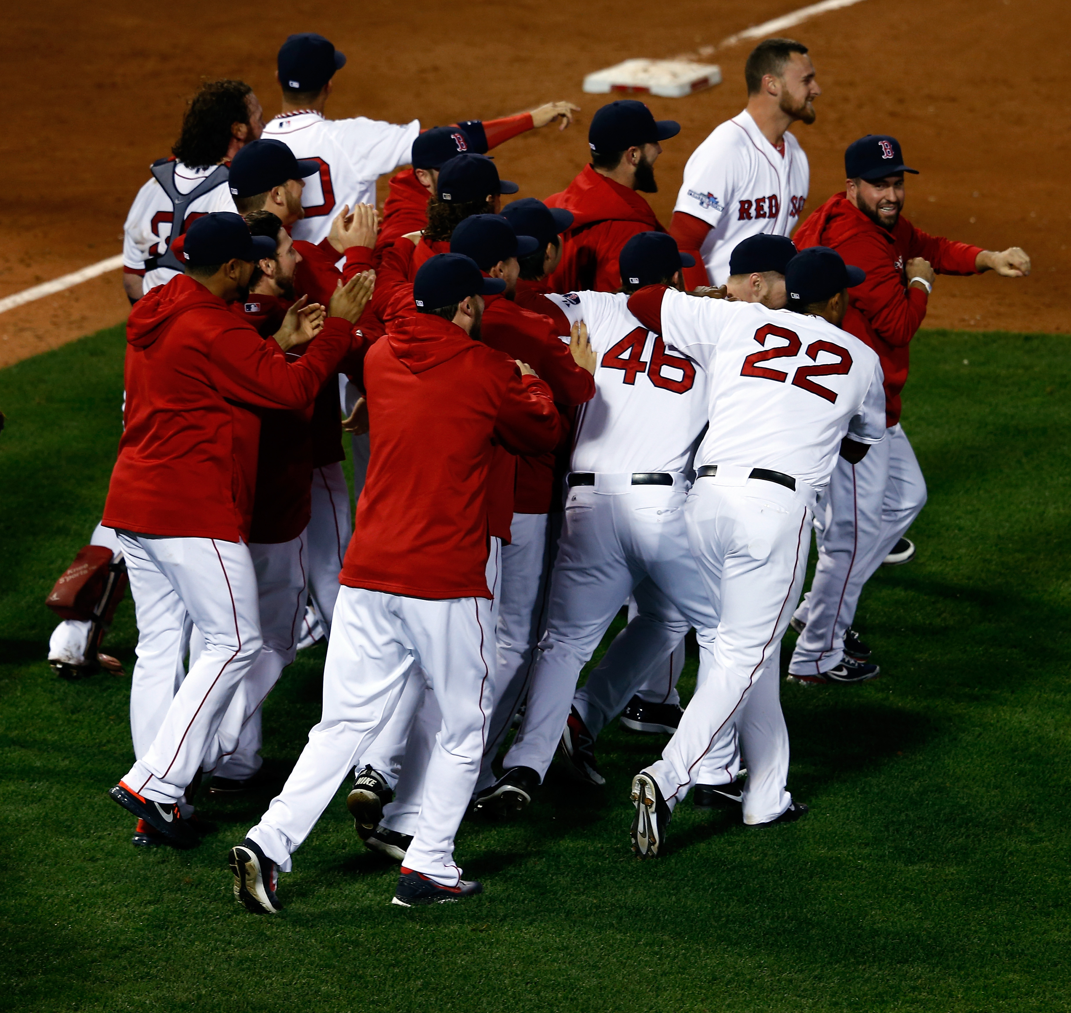 The 2013 Red Sox celebrate their LCS win -- accomplished after they lost Game 1