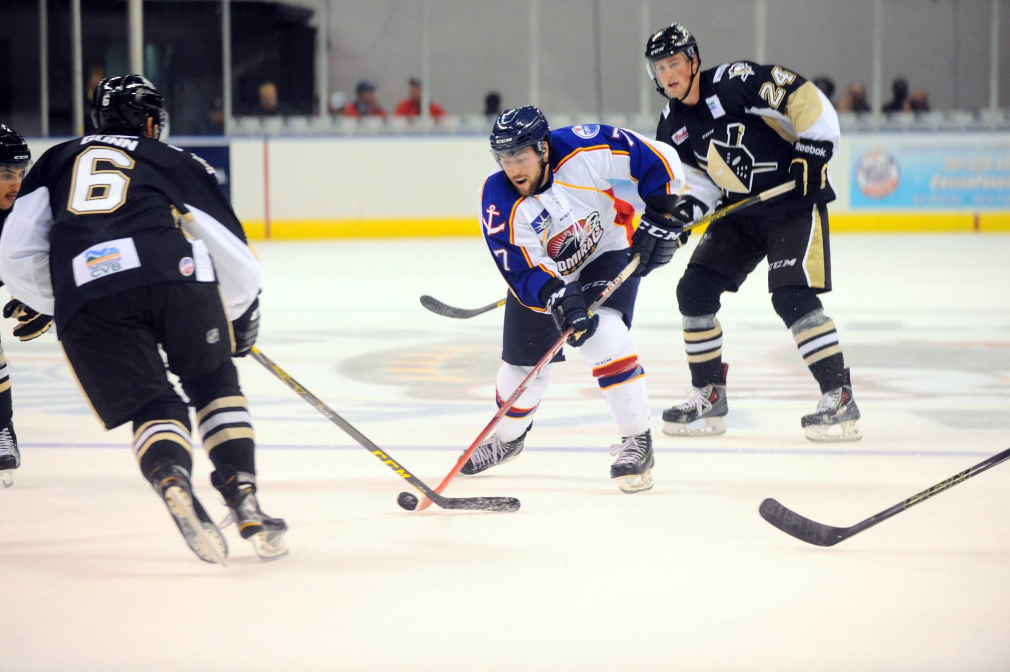 Forward Mathieu Brisebois carries the puck through the Wheeling Nailers' offensive zone during the Norfolk Admirals' Season Opener at Norfolk Scope  October 16, 2015