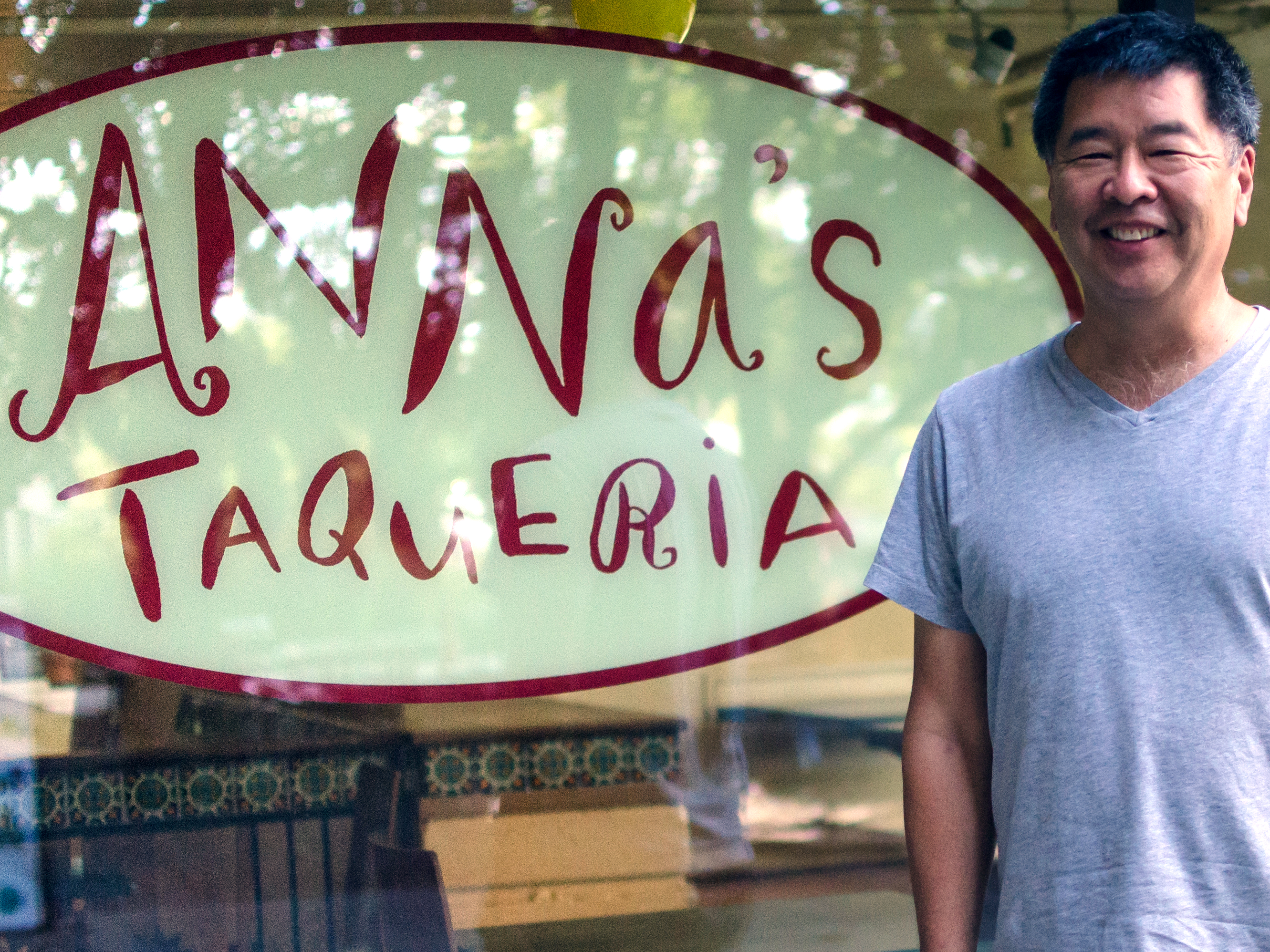 Mike Kamio, owner of Anna's Taqueria, by the MIT location.