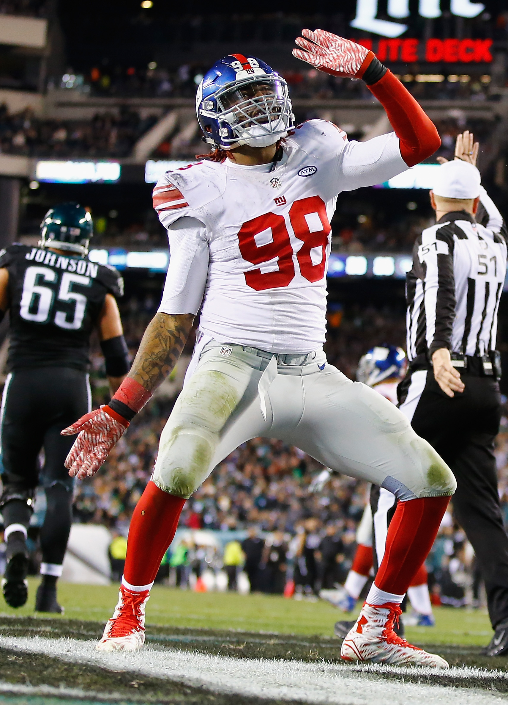 Damontre Moore dances after a sack Monday night