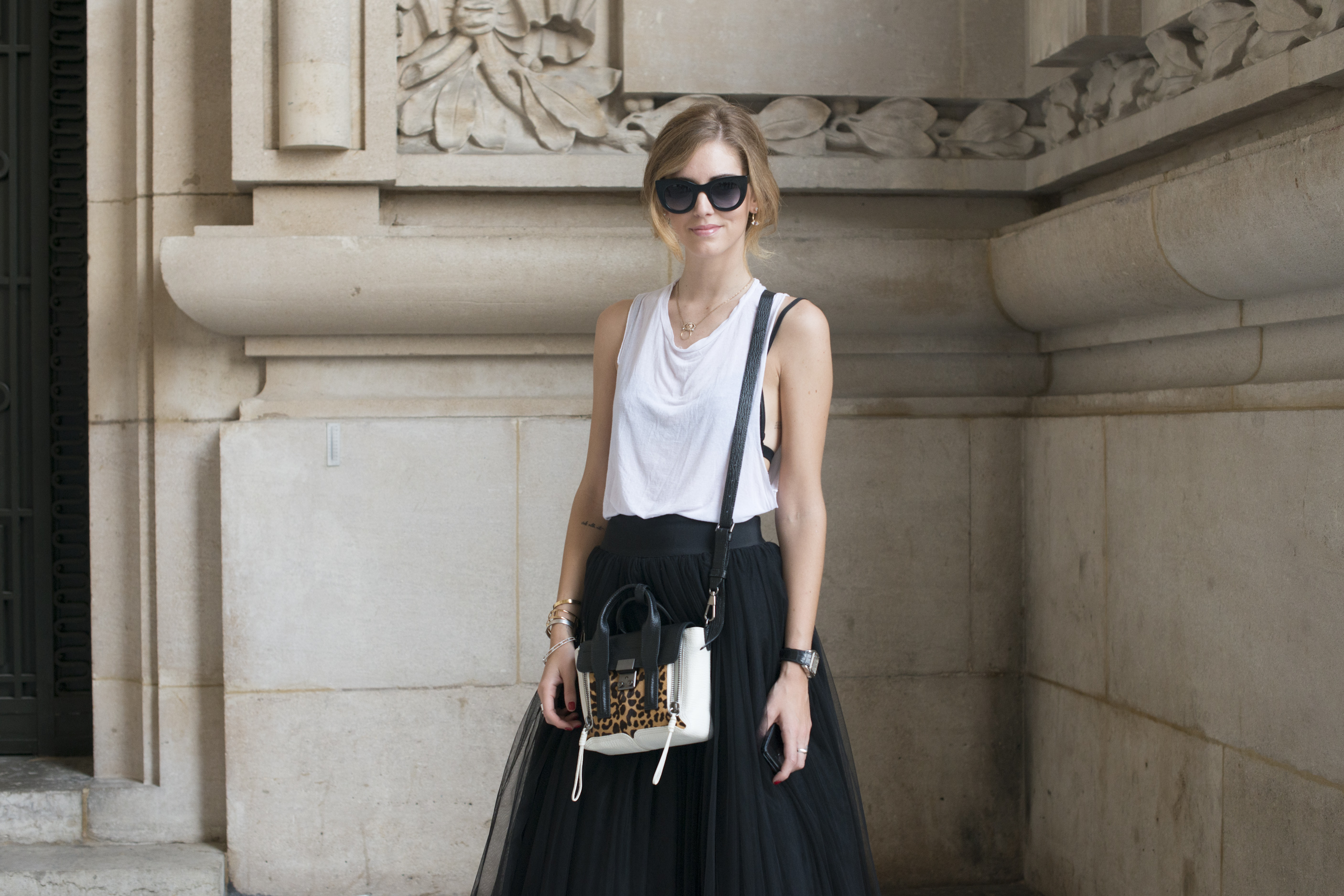 A 3.1 Phillip Lim bag spotted outside an international fashion week.