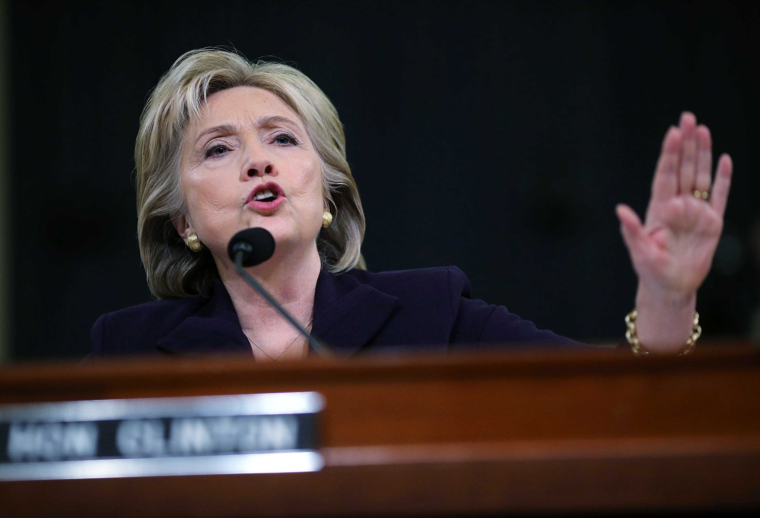 Democratic presidential candidate and former Secretary of State Hillary Clinton testifies before the House Select Committee on Benghazi October 22, 2015, on Capitol Hill in Washington, DC.