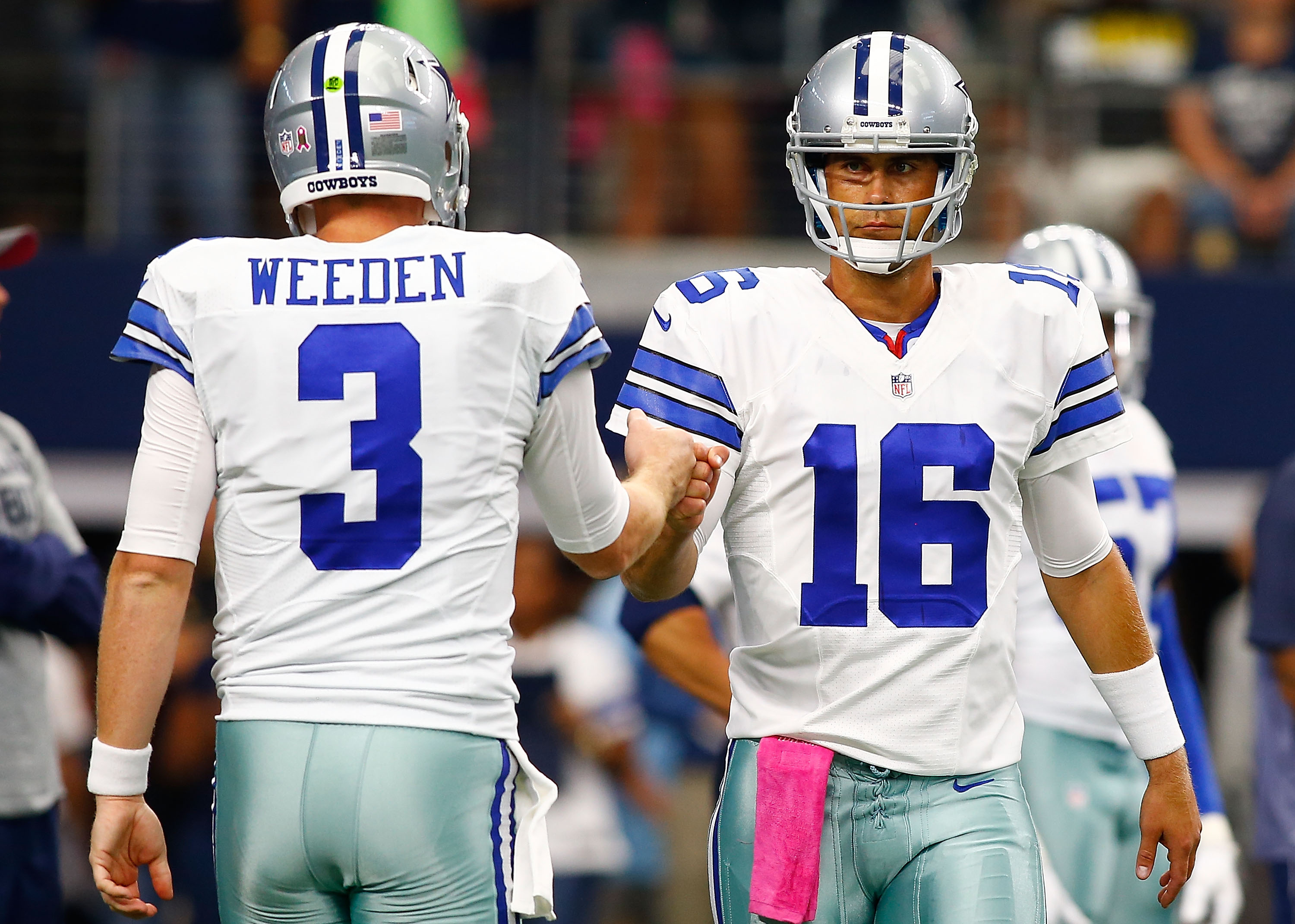 Brandon Weeden (left) is out and Matt Cassel is in at QB for the Cowboys