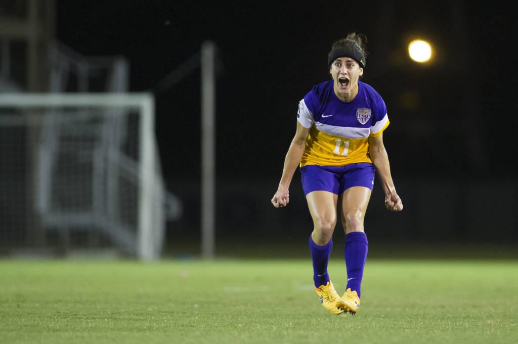 Natalia Gomez Junco celebrates her go-ahead goal Friday night