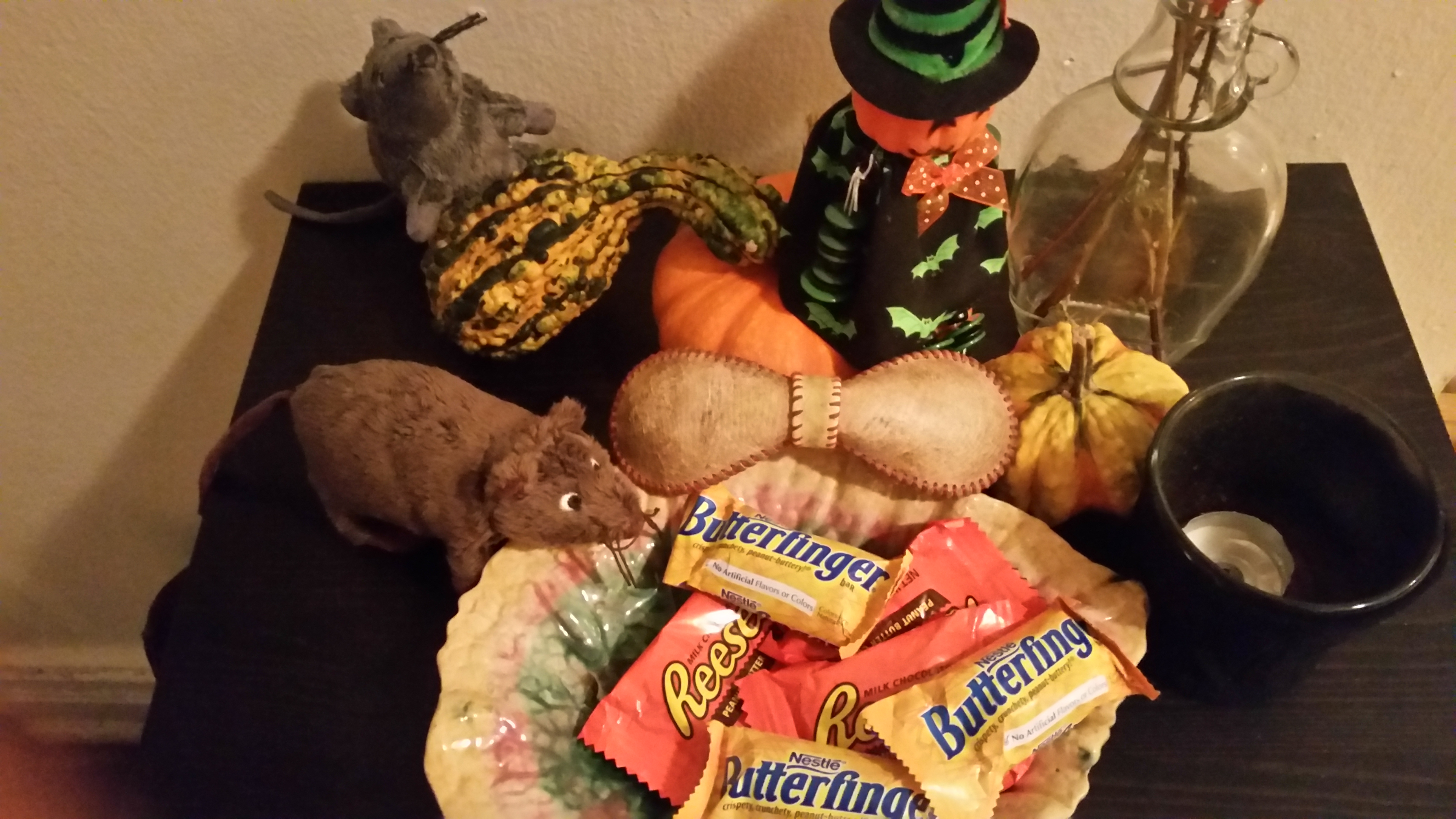 The bow tie is the prize. I keep the candy and mice.