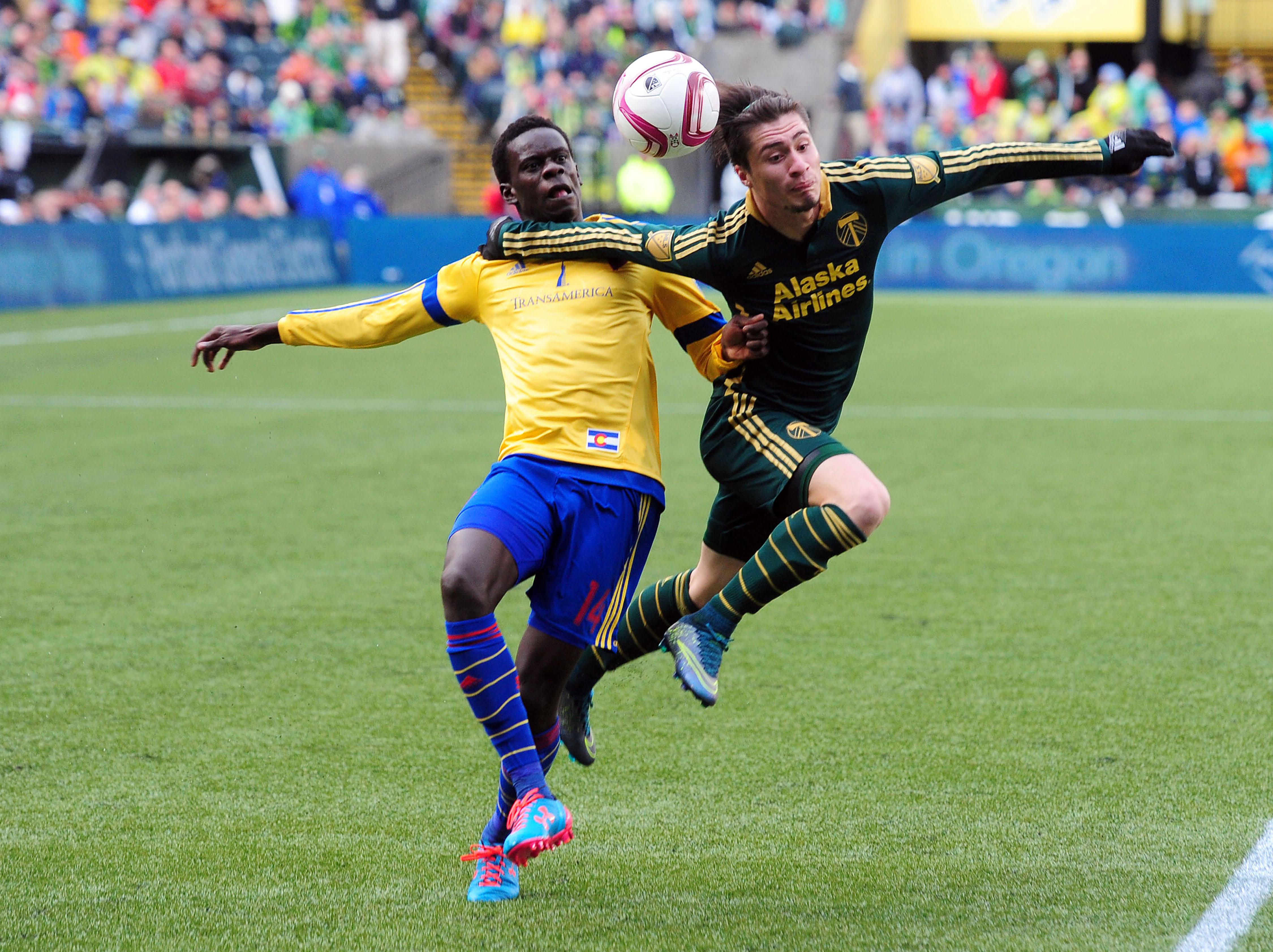 Badji and Villafana battle for the ball in the first half.