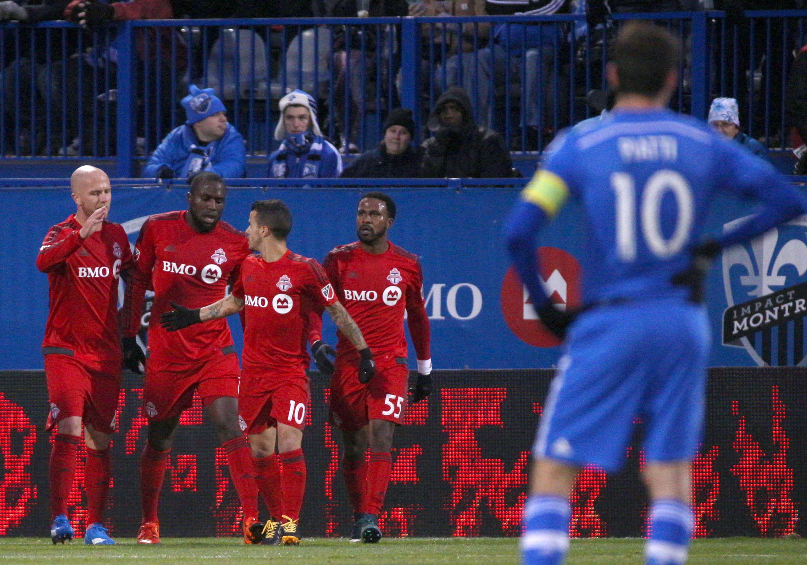 Ignacio Piatti watching Toronto's 3 DPs celebrate a goal last Sunday. The same DPs the Impact will have to slow down tomorrow.