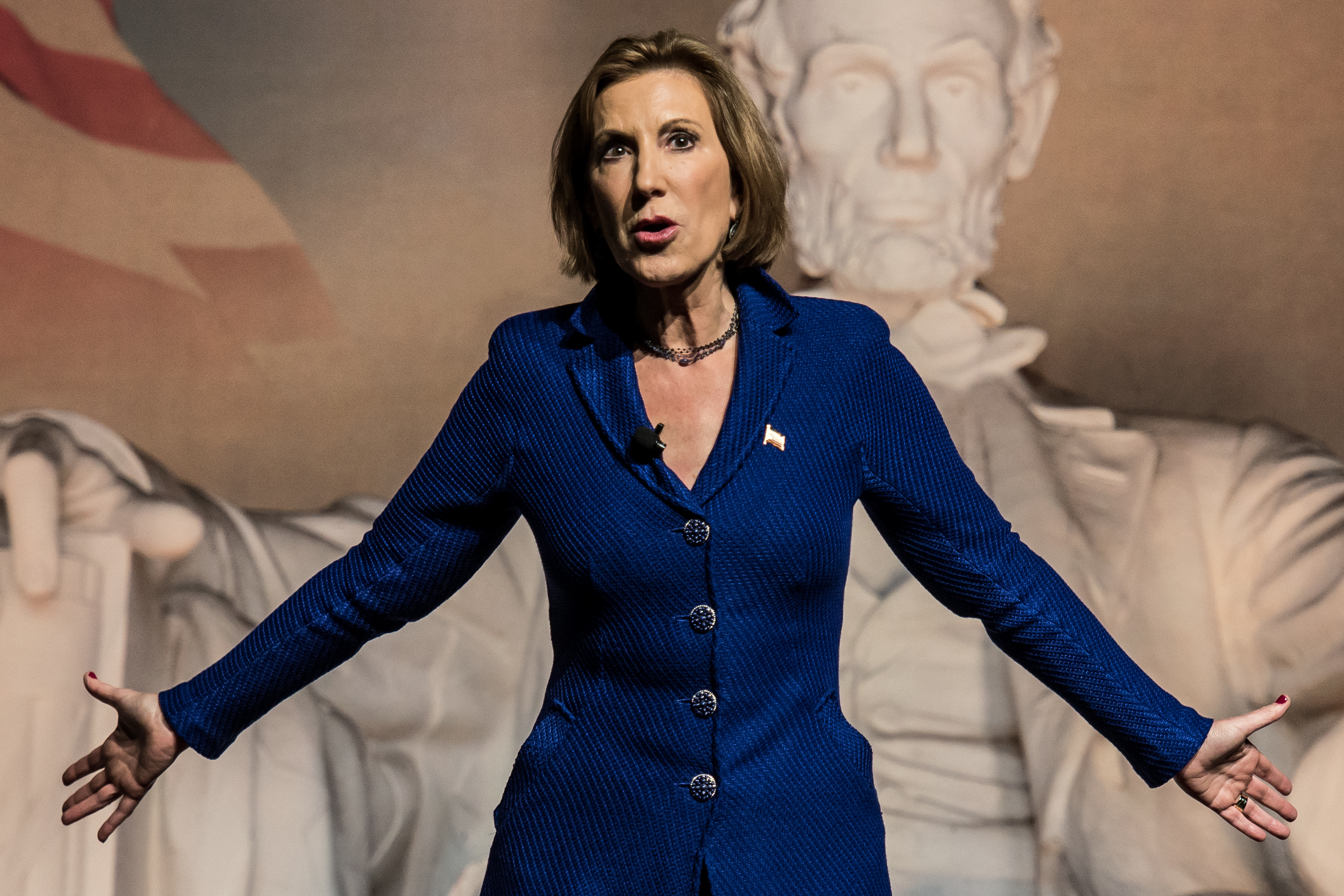 Republican presidential candidate Carly Fiorina speaks to voters at a town hall meeting.
