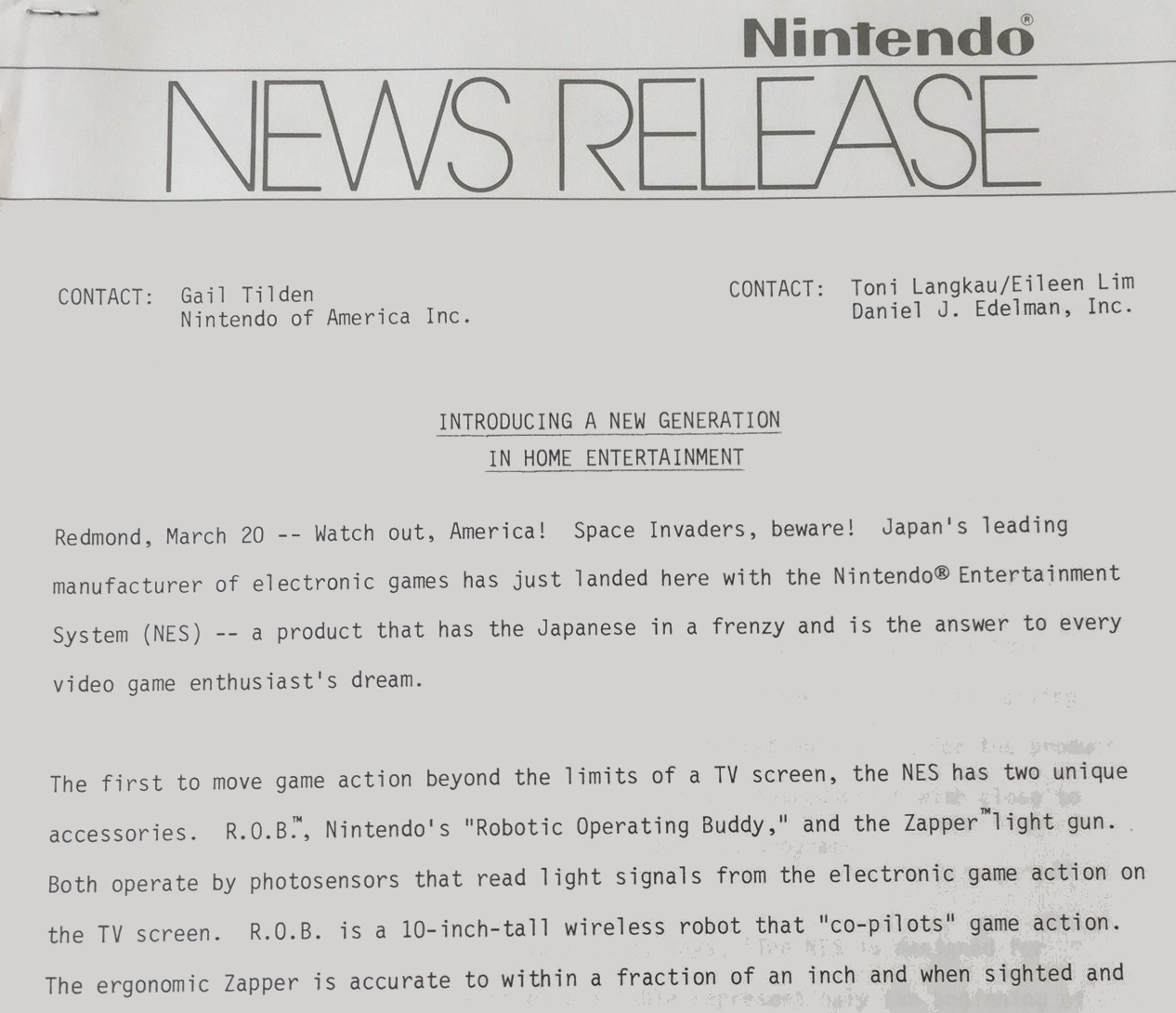 Here's how Nintendo announced the NES in North America almost 30 years ago