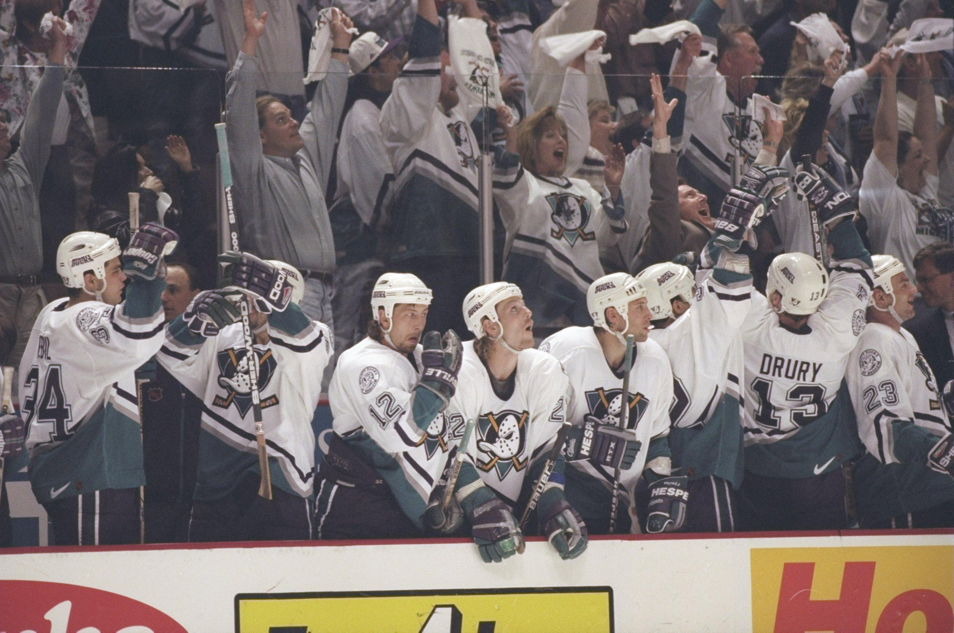 Anaheim celebrates during the first round of the 1996-97 playoffs.