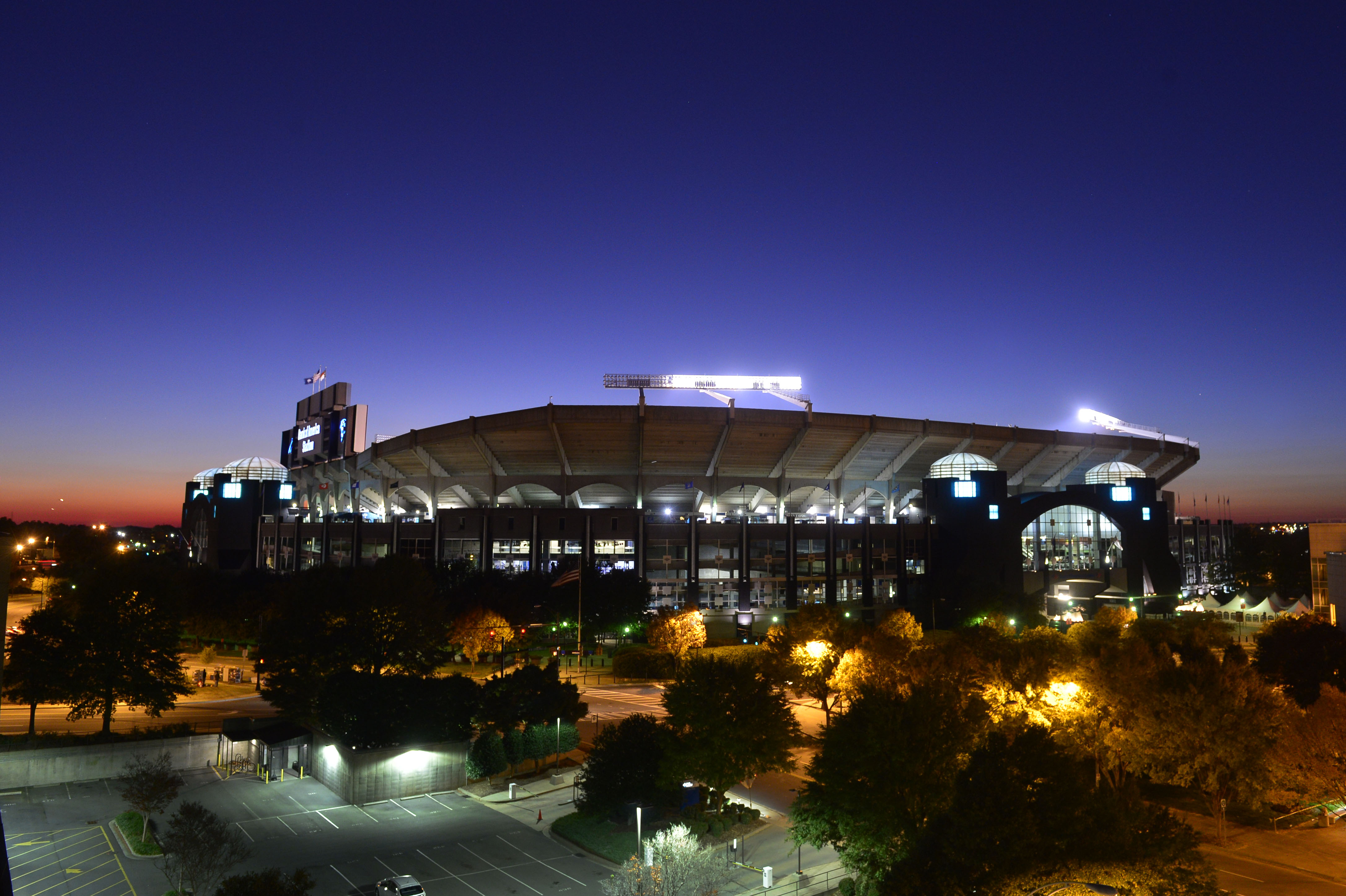 Bank of America Stadium, where gimpy young Equus ferus caballus are fed to large Panthera pardus.