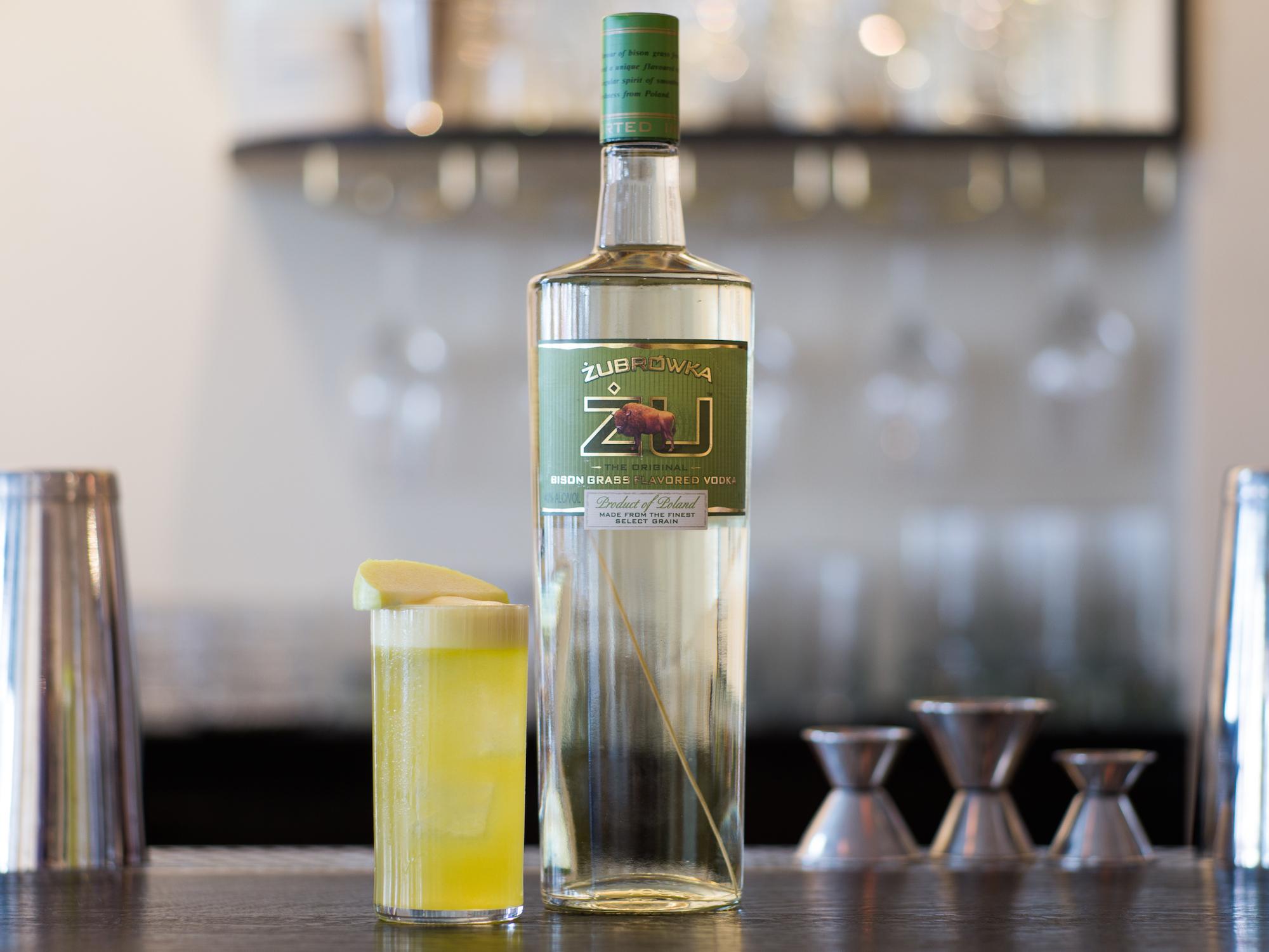 The Tatanka cocktail using Żubrówka vodka at Dante in New York's West Village.