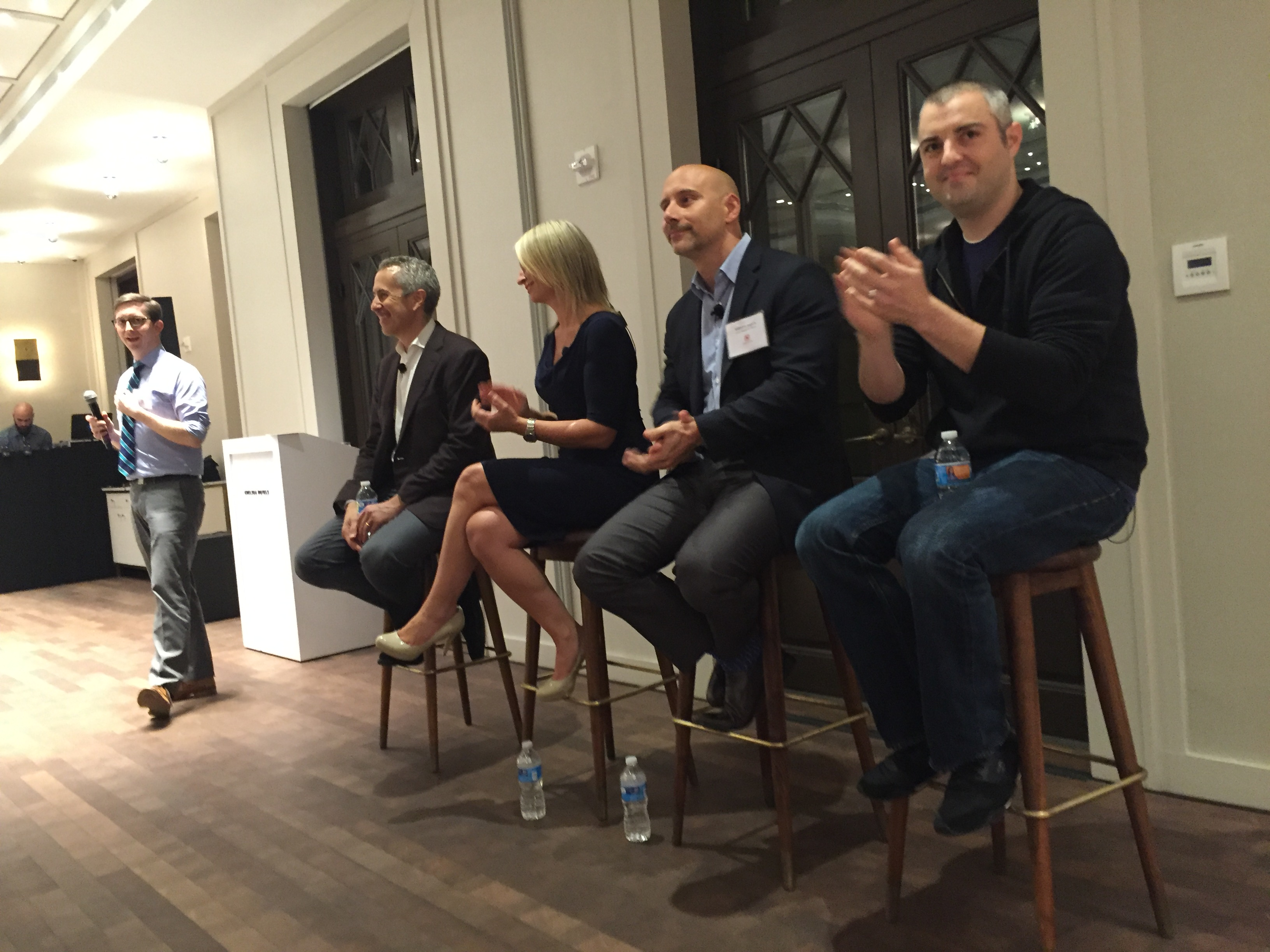 USHG's executive team, including Danny Meyer, Erin Moran, Sabato Sagaria and The Modern's executive chef Abram Bissell, spoke to restaurant guests at a Town Hall on Monday.