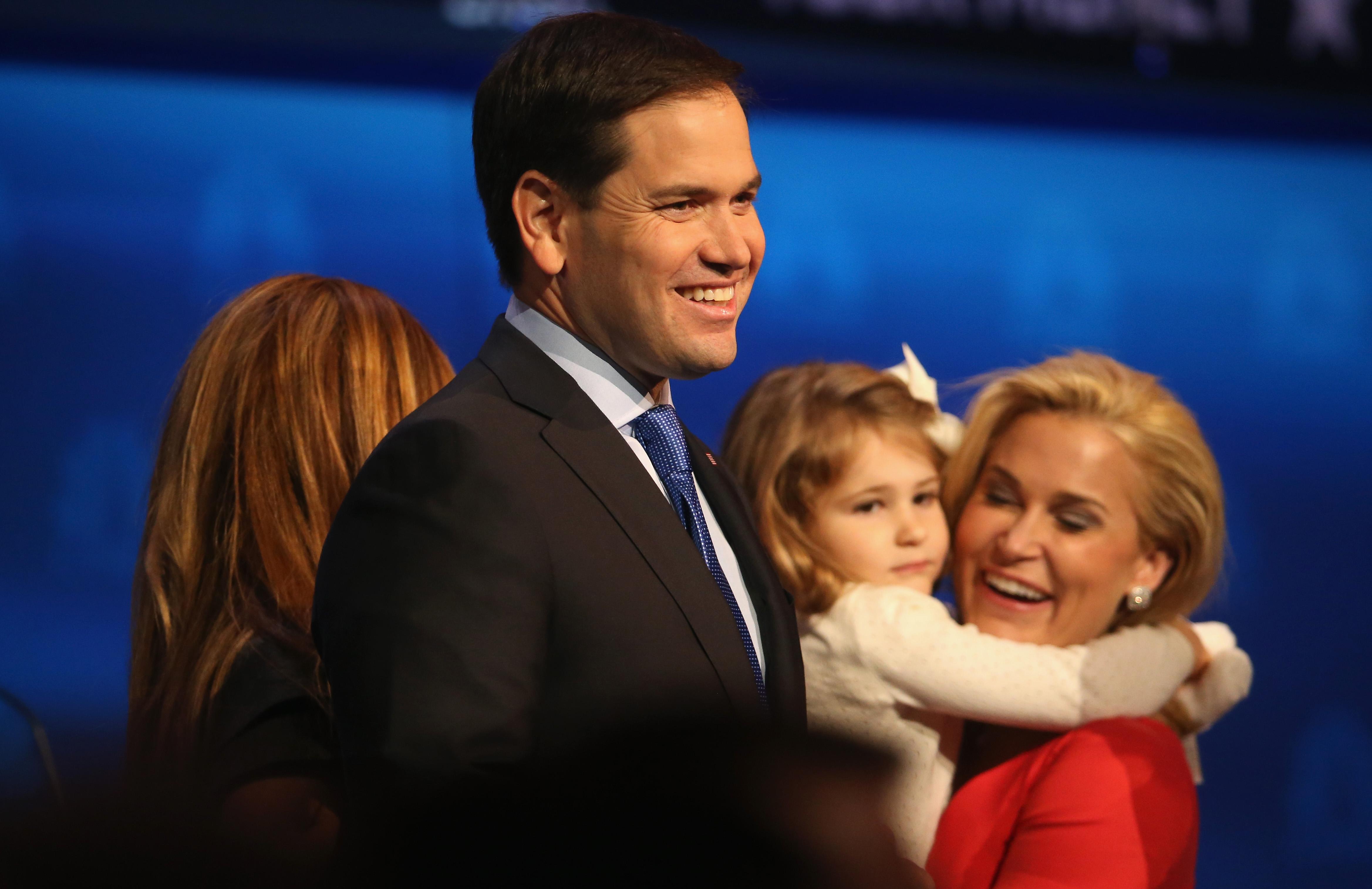 Rubio, smiling.