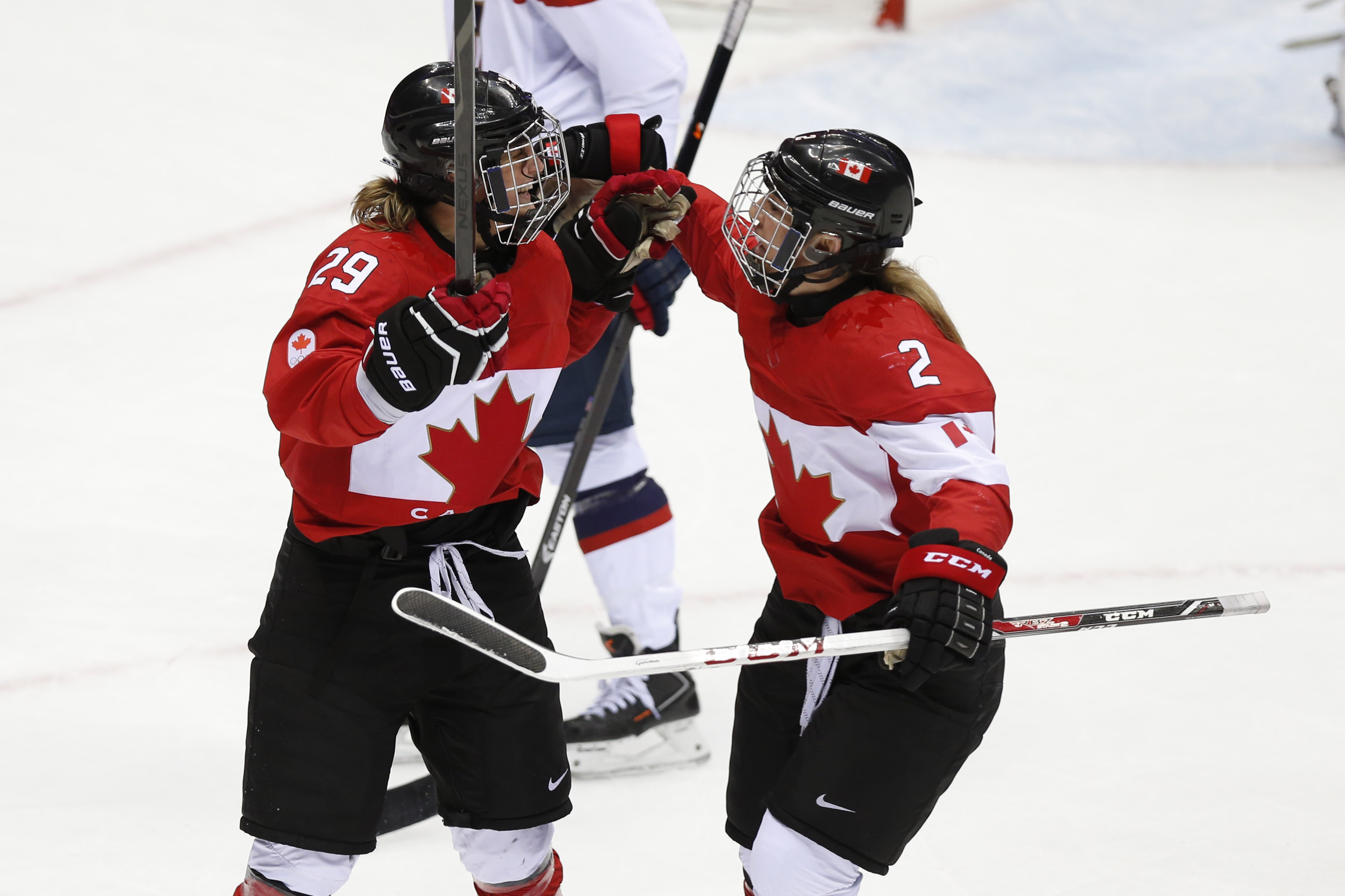 Marie-Philip Poulin, left, and Meghan Agosta headline a solid roster for Team Canada, which will participate in the 4 Nations Cup later this week.