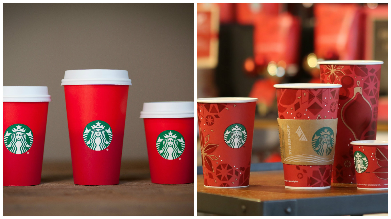 Starbucks' 2015 holiday cups vs. the more festive 2013 version.