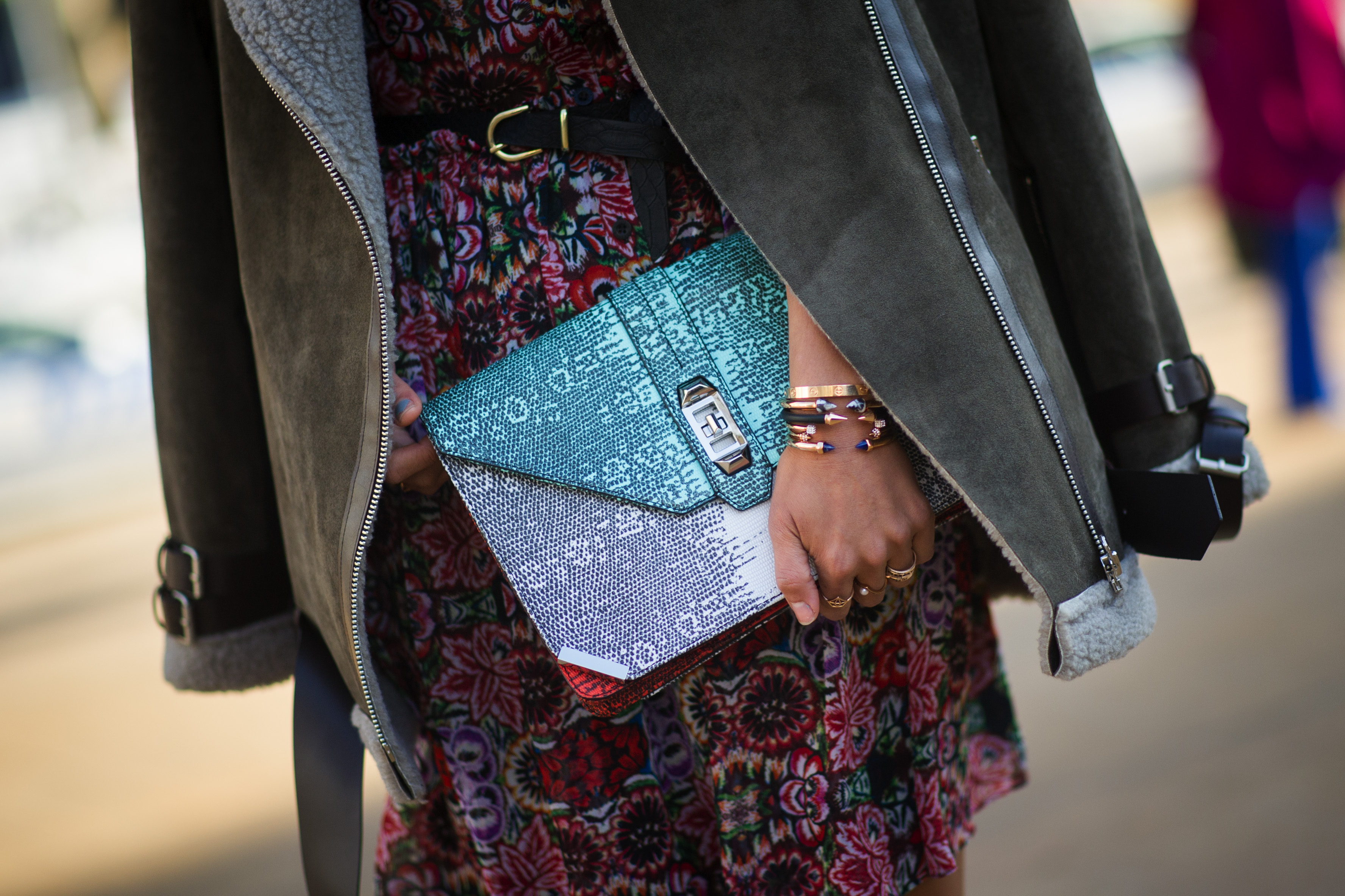 A Rebecca Minkoff clutch spotted during New York Fashion Week
