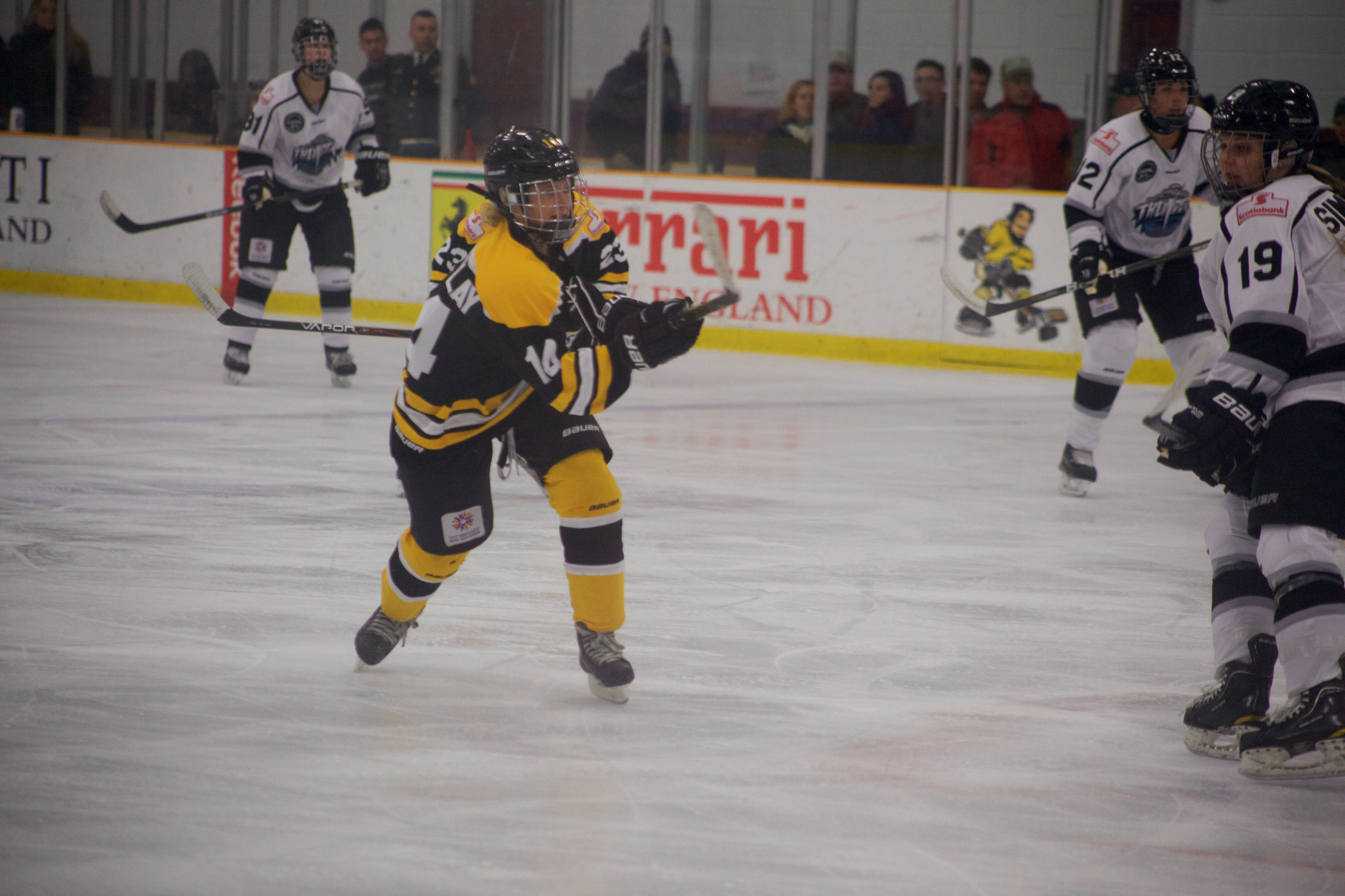 Blades forward Elizabeth Tremblay scores her second goal of the season in her team's 2-1 loss against Brampton.