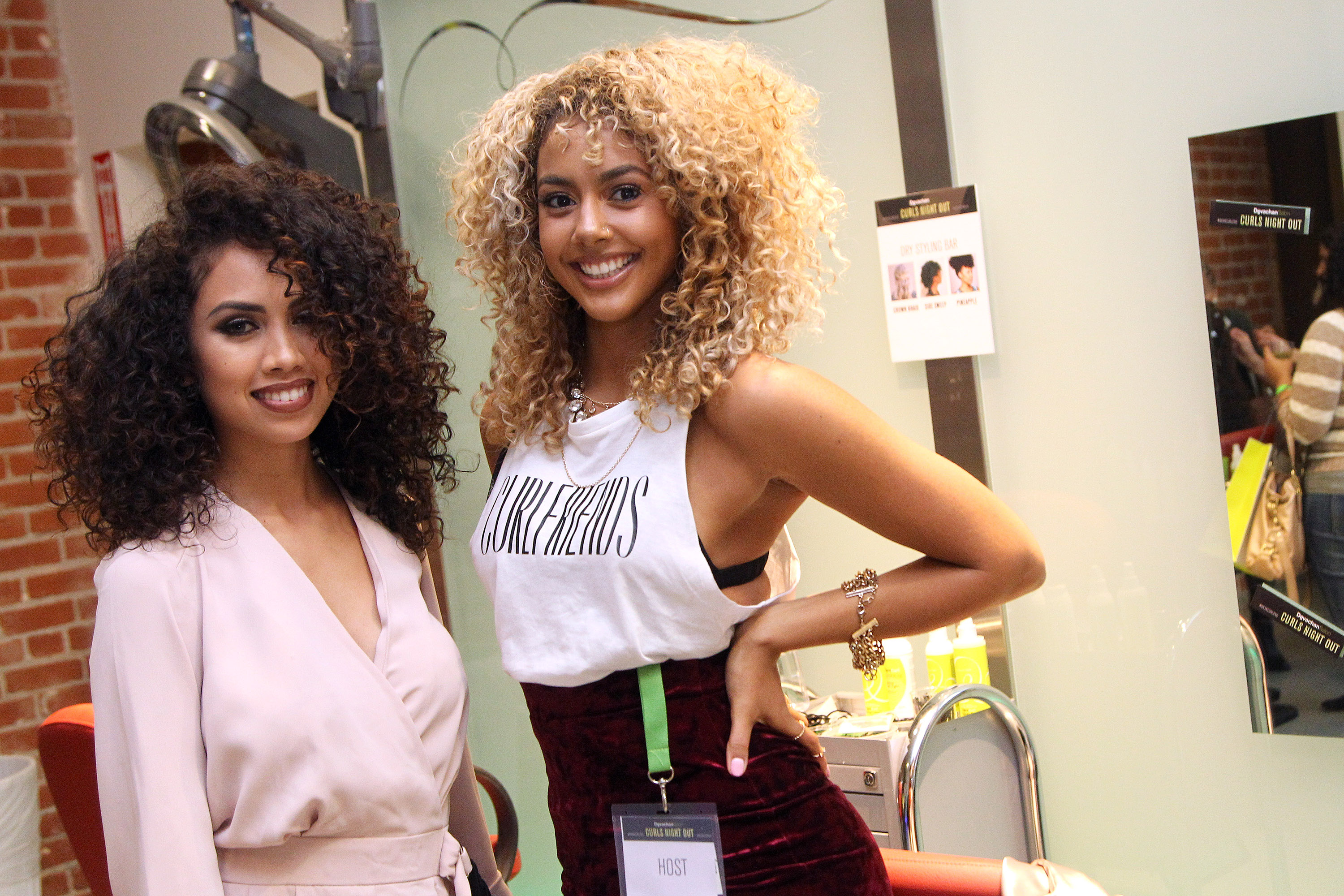 Bloggers Kai Frias, Marlene Wilkerson at Devacurl's Curls Night Out