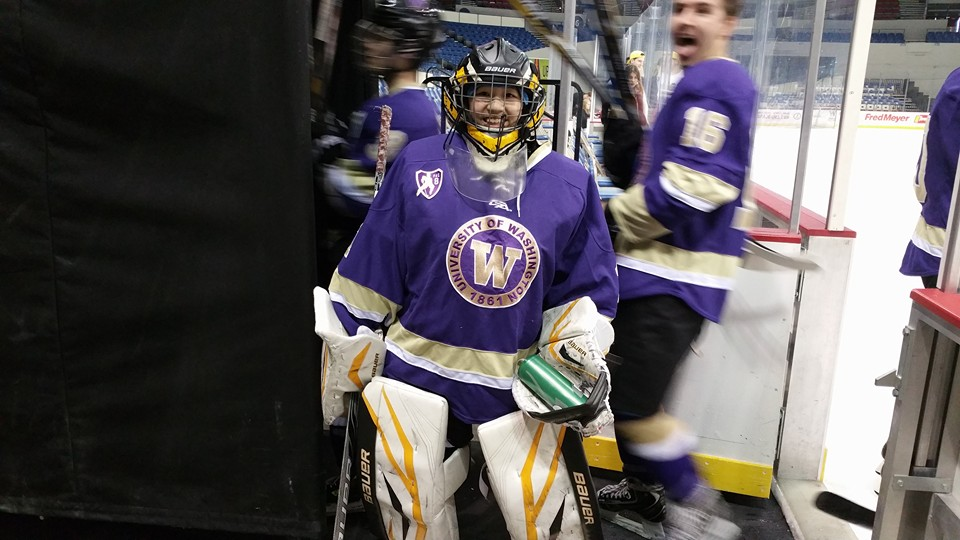 Washington Huskies goaltender Debbie Chen poses for a quick photo op after her first win on Sunday in Portland.