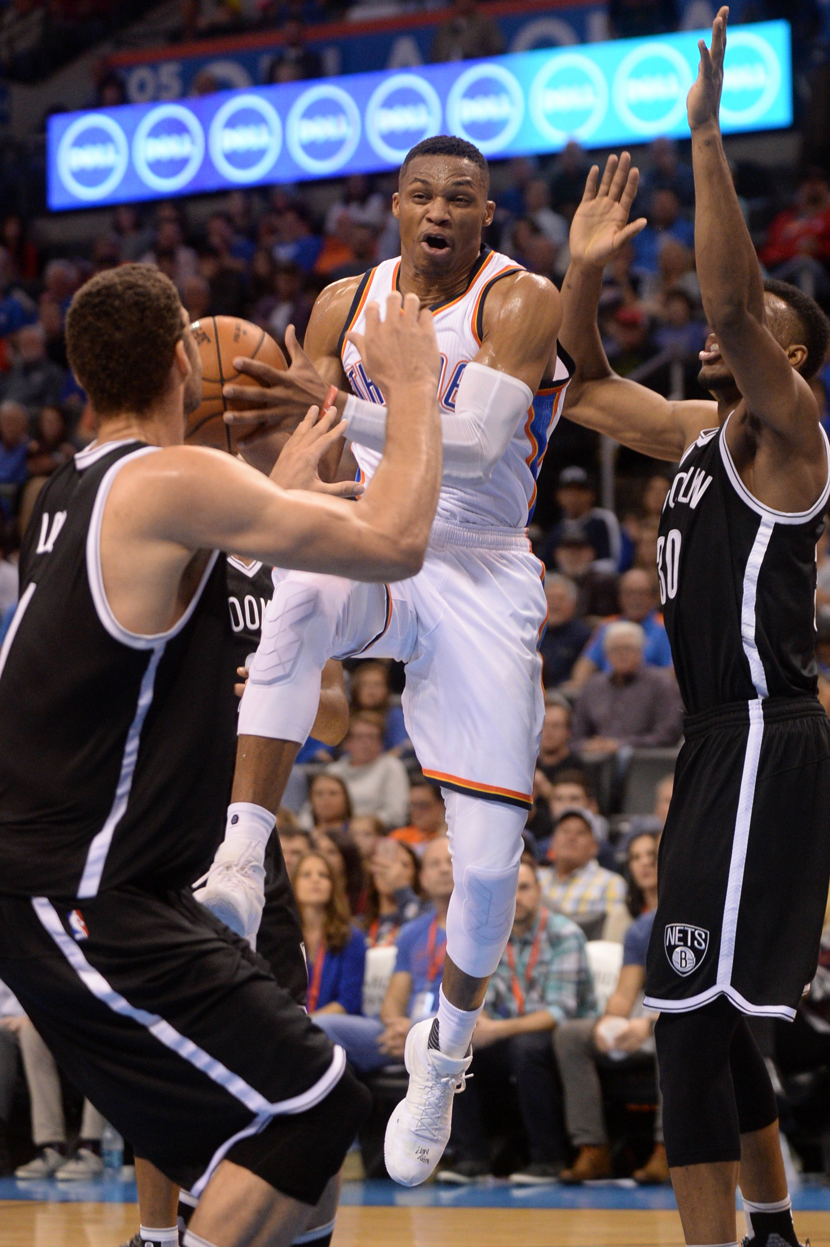 Westbrook knows when you're triple-teaming him, even with his eyes closed.