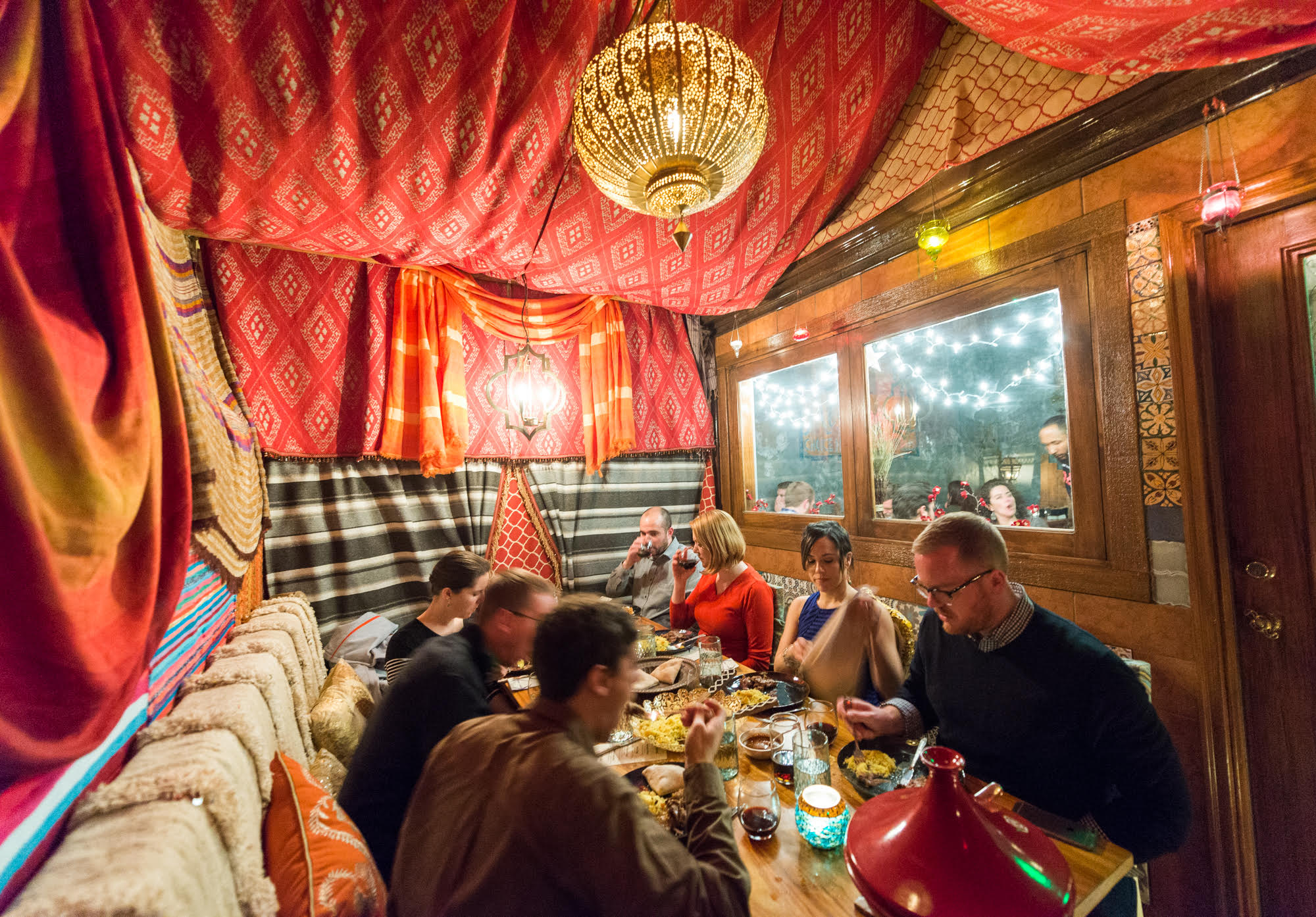 Inside the tent at Compass Rose