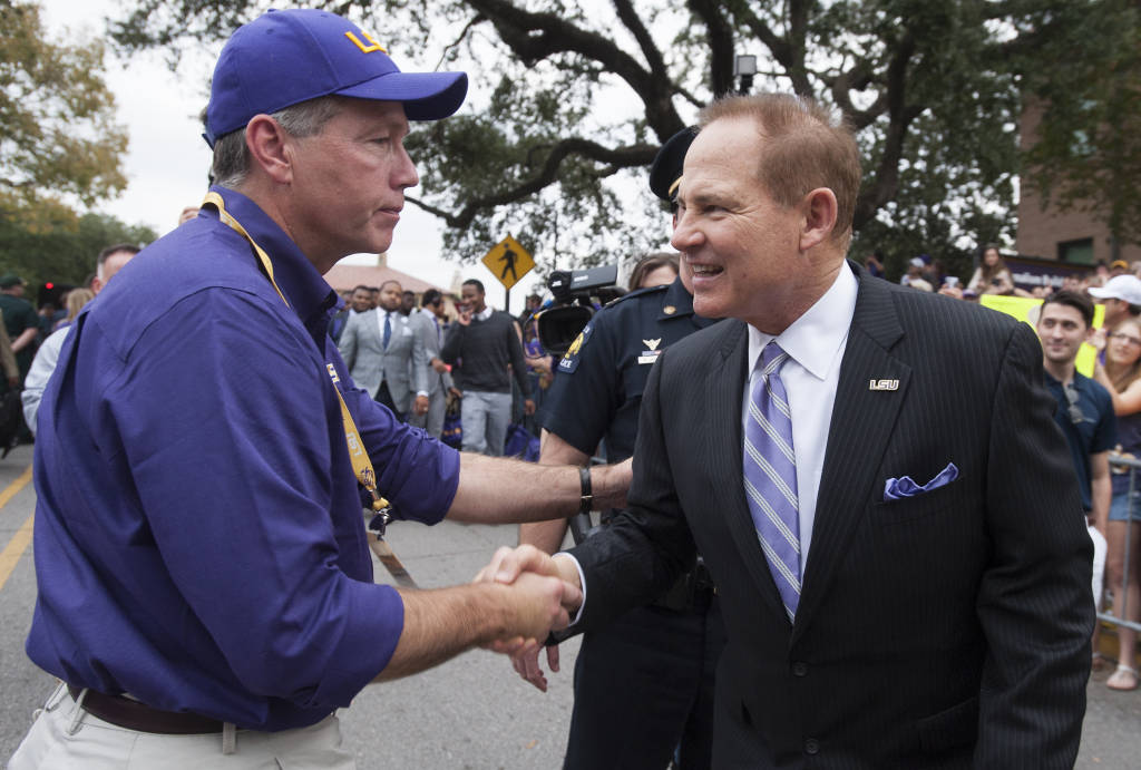 Les Miles and LSU President F. King Alexander before last Saturday's game vs A&M