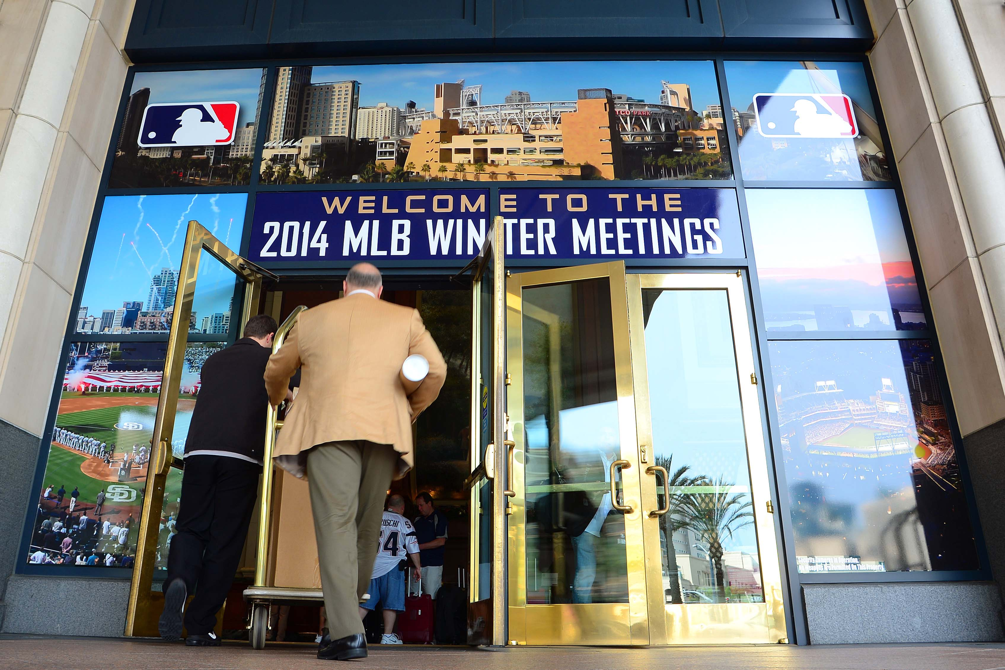 The entrance to the 2014 MLB Winter Meetings in San Diego, CA which is a stark contrast in climate to Nashville, TN.