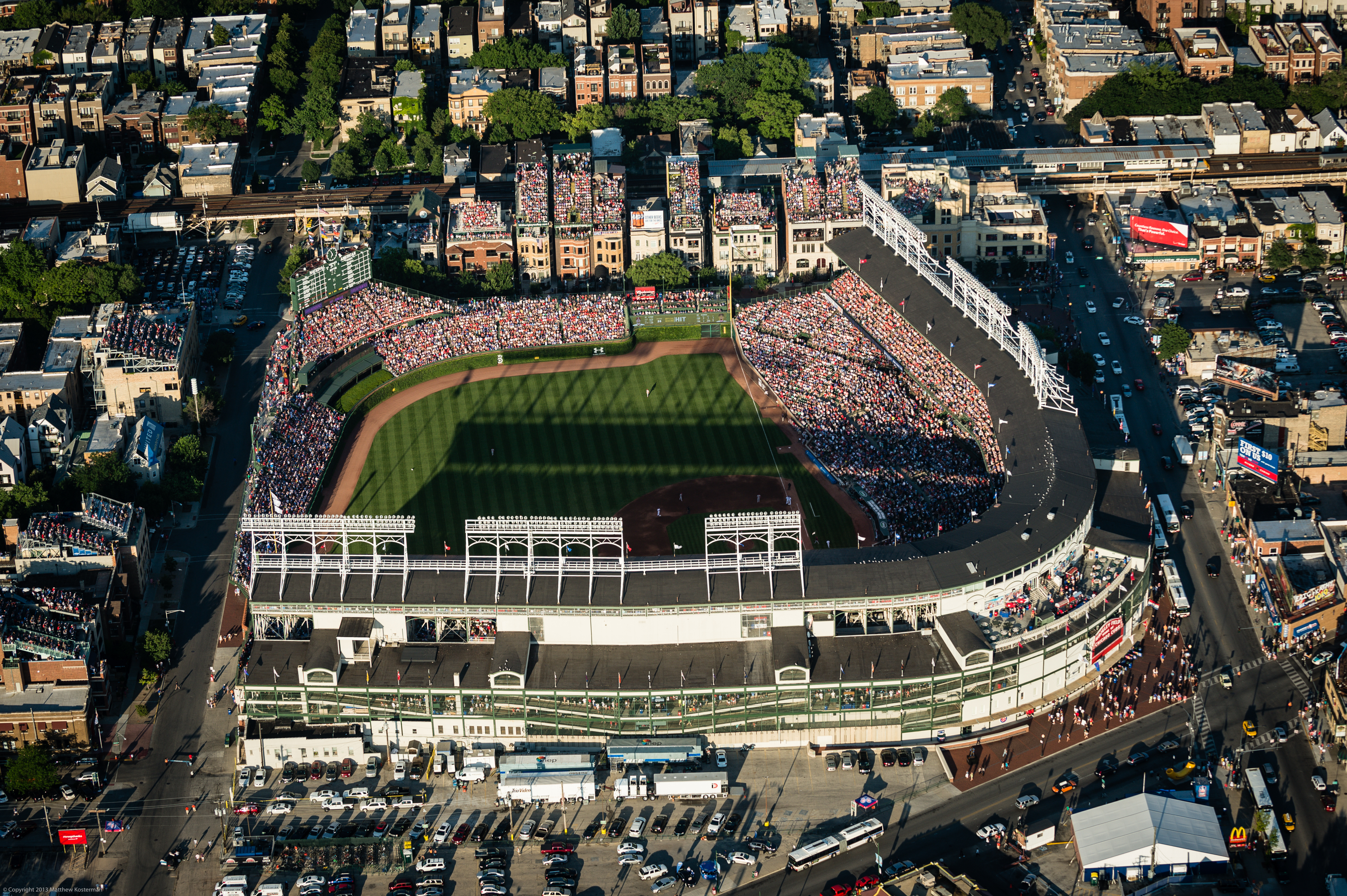 Wrigley Field as seen from the air, July 11, 2013