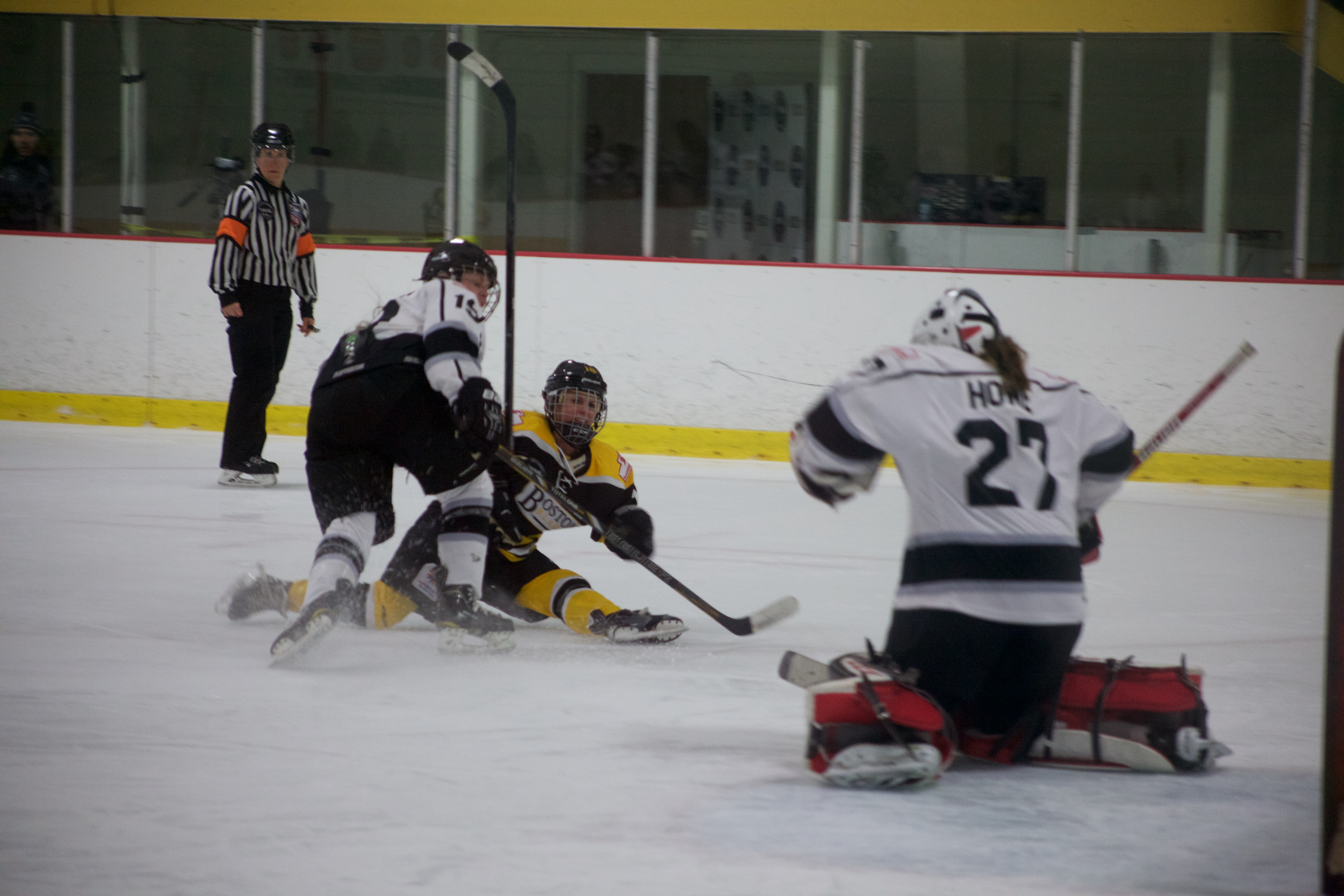 Blades defensemen Maggie DiMasi makes a great shot to score her first goal of the season.