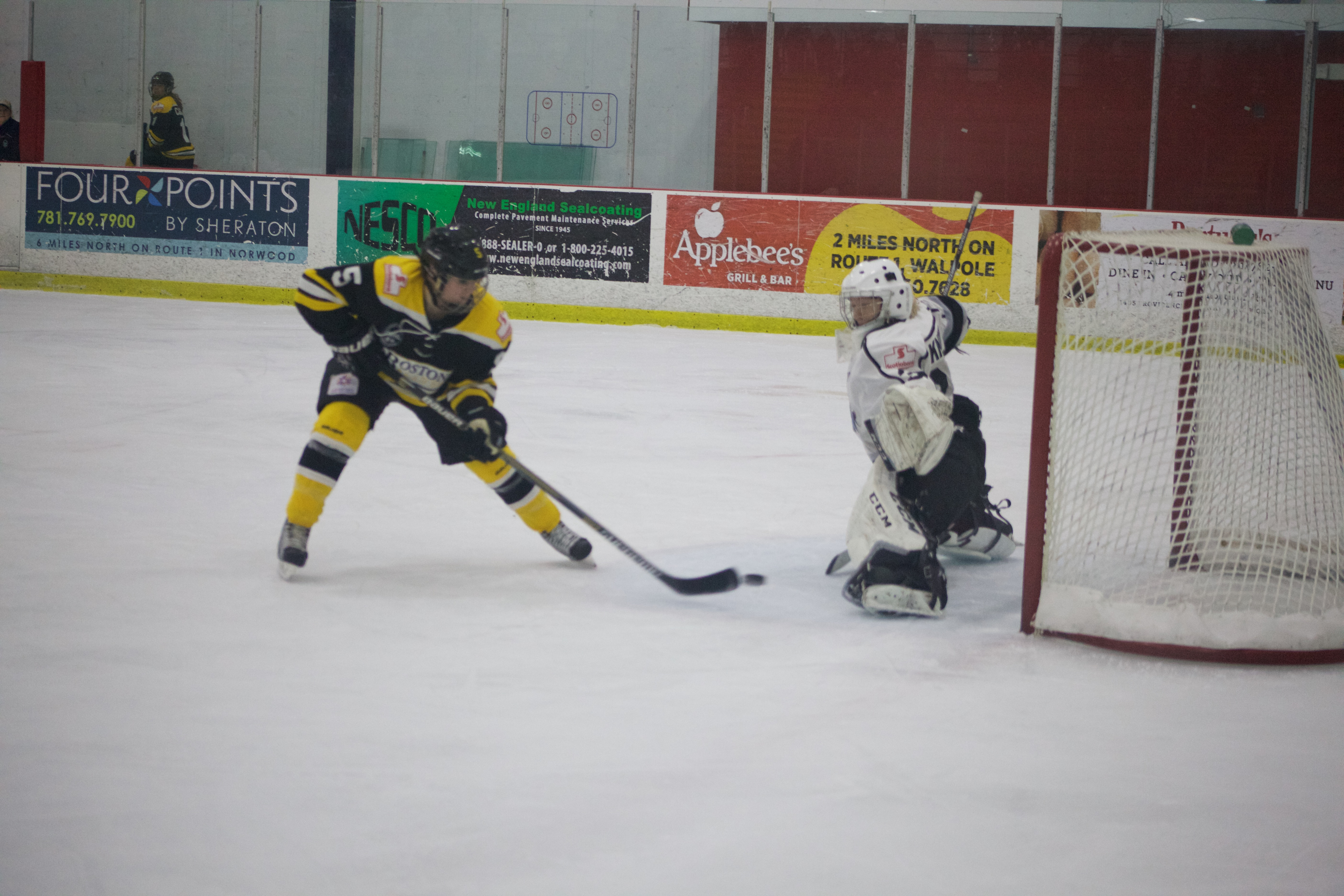 Blades forward Sadie St. Germain scores her first goal of the season in Sunday's loss to Brampton.