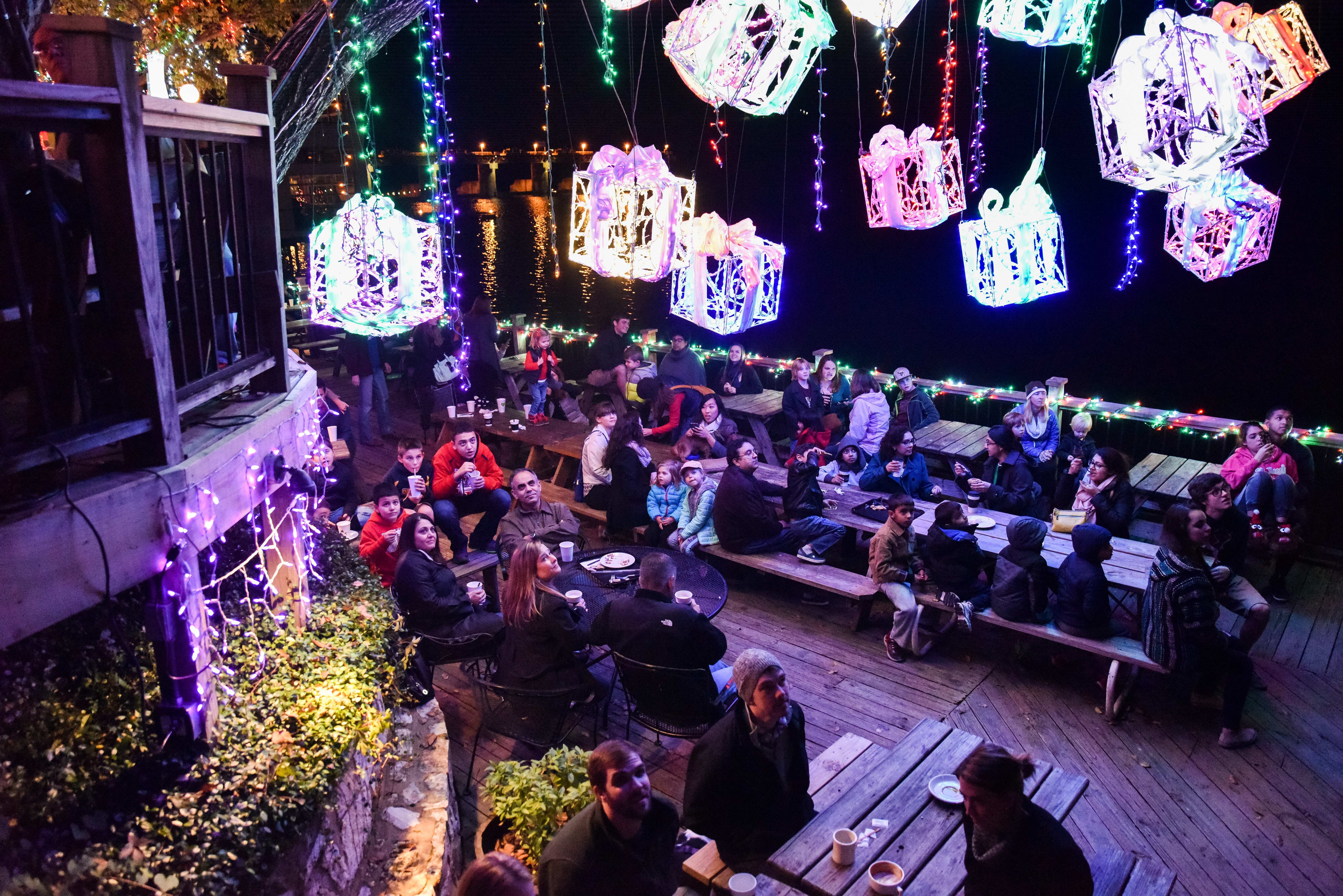 The holiday light show at Mozart's Coffee Roasters