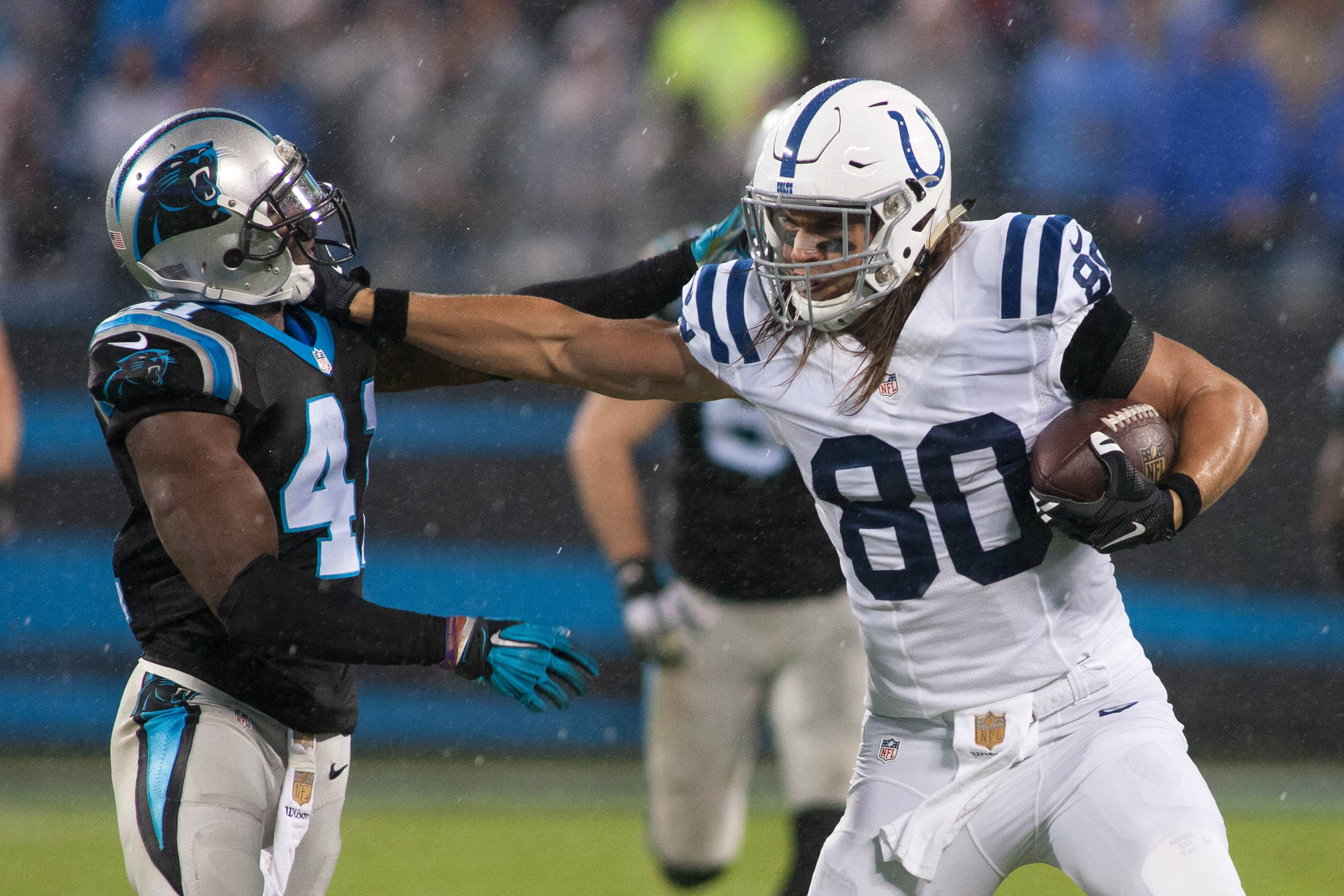 Yeah, son. Get you some, Roman Harper. Coby Fleener DOES play tough, after all.