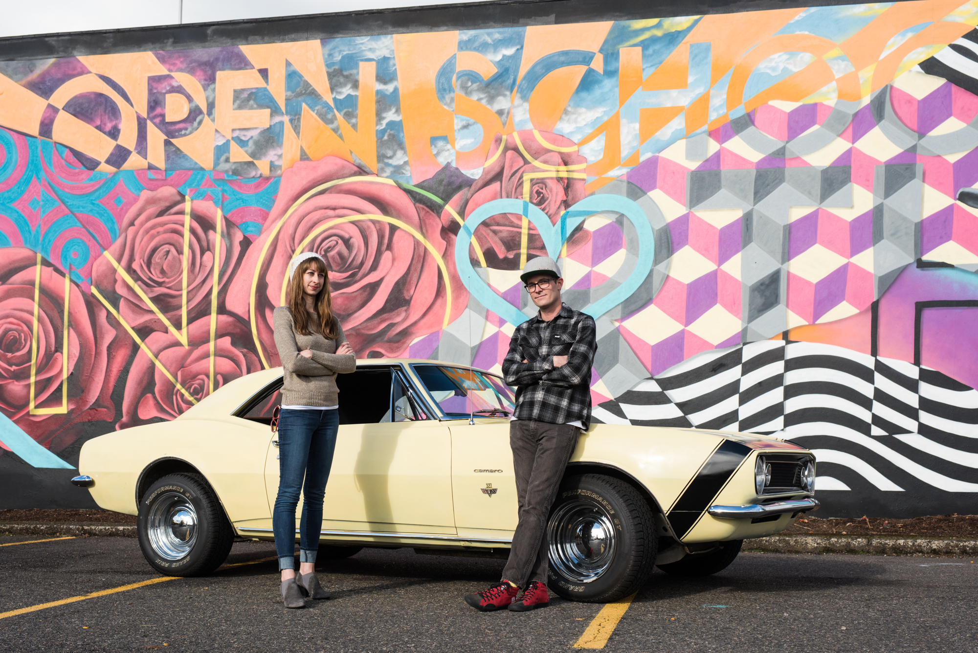 Jobie Bailey, chef at Tastebud, and Danielle Bailey Hoeft, chef at Imperial, with 1967 Chevrolet Camaro with a 327 small block.