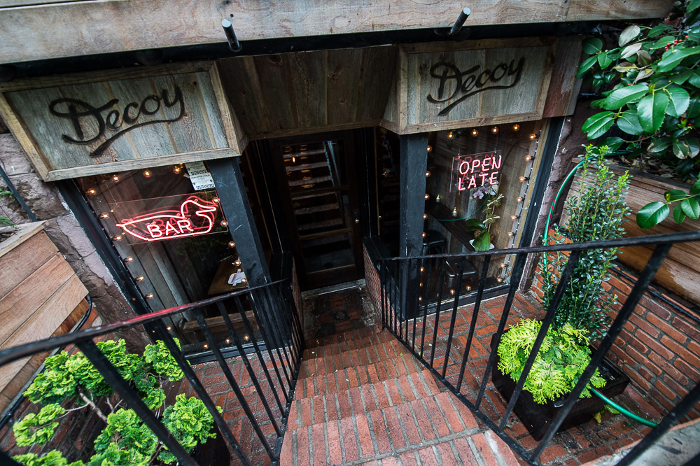 [The steps leading down to Peking duck specialist Decoy in the West Village.]
