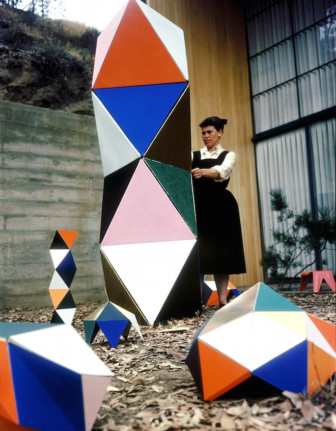 Ray Eames standing beside The Toy, a prefab building toy for kids manufactured by Tigrett Enterprises in 1951. All images © Eames Office, LLC.