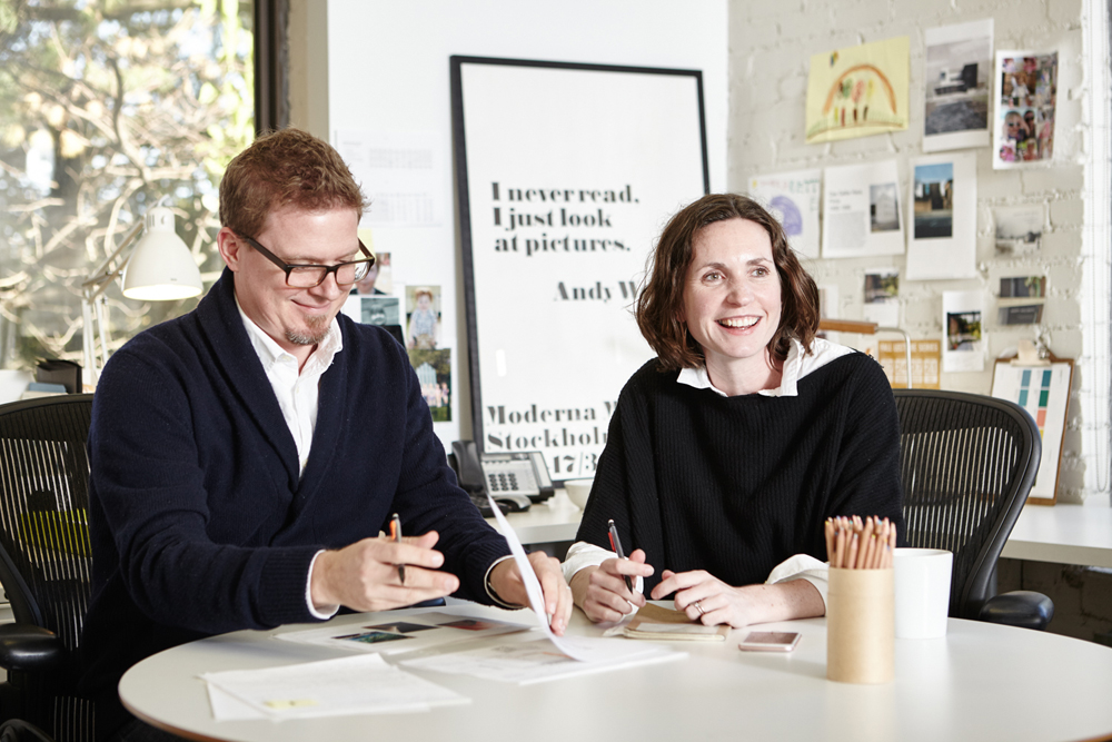 """Mette Aamodt and Andrew Plumb in their Cambridge studio. Photo by <a href=""""http://www.simonsimard.com/"""">Simon Simard</a>."""