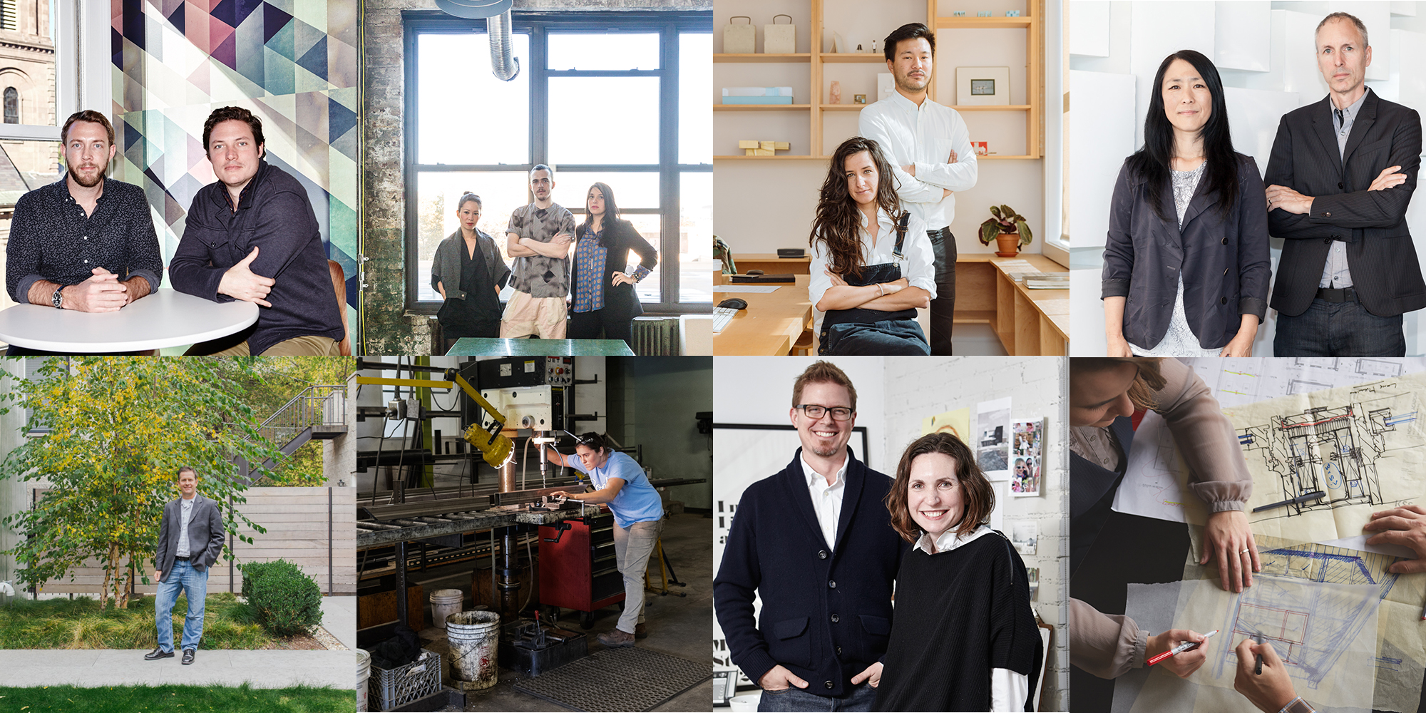 Winners, clockwise from top left: MASS Design Group, Bureau V, Family New York, Iwamoto Scott, KSS Architects, Aamodt / Plumb, El Dorado, Jeff Sommers of Square Root Architecture + Design. Photos by Simon Simard, Mark Wickens, Mark Wickens, Patricia