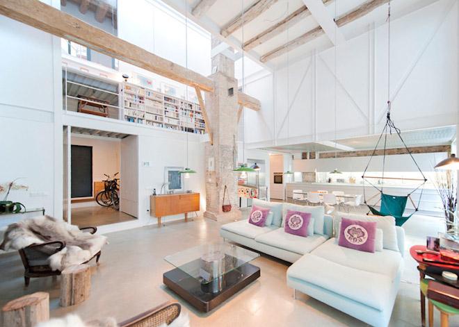 "All photos by Lluís Corbella and Eva Cotman via <a href=""http://www.dezeen.com/2015/09/20/lluis-corbella-marc-mazeres-single-house-building-barcelona-dairy-conversion-loft-house-interior-spain/"">Dezeen</a>"