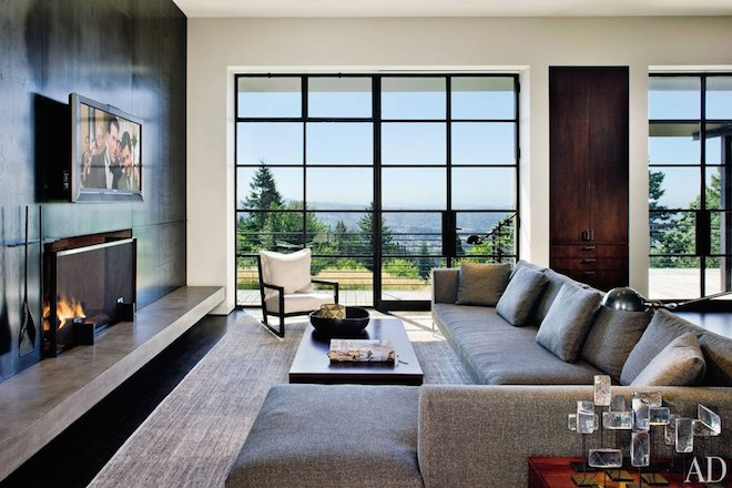 Olson Kundig Architects' mod hilltop design in Portland, Oregon got the TV-over-fireplace treatment