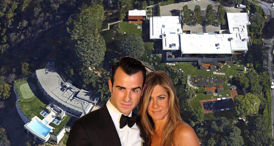 "Aniston's home is on the right; the conveniently vacant mansion is on the left. Aerial view via Google Maps. The happy couple via <a href=""http://www.shutterstock.com/gallery-885403p1.html"">Serge Rocco</a>/Shutterstock."