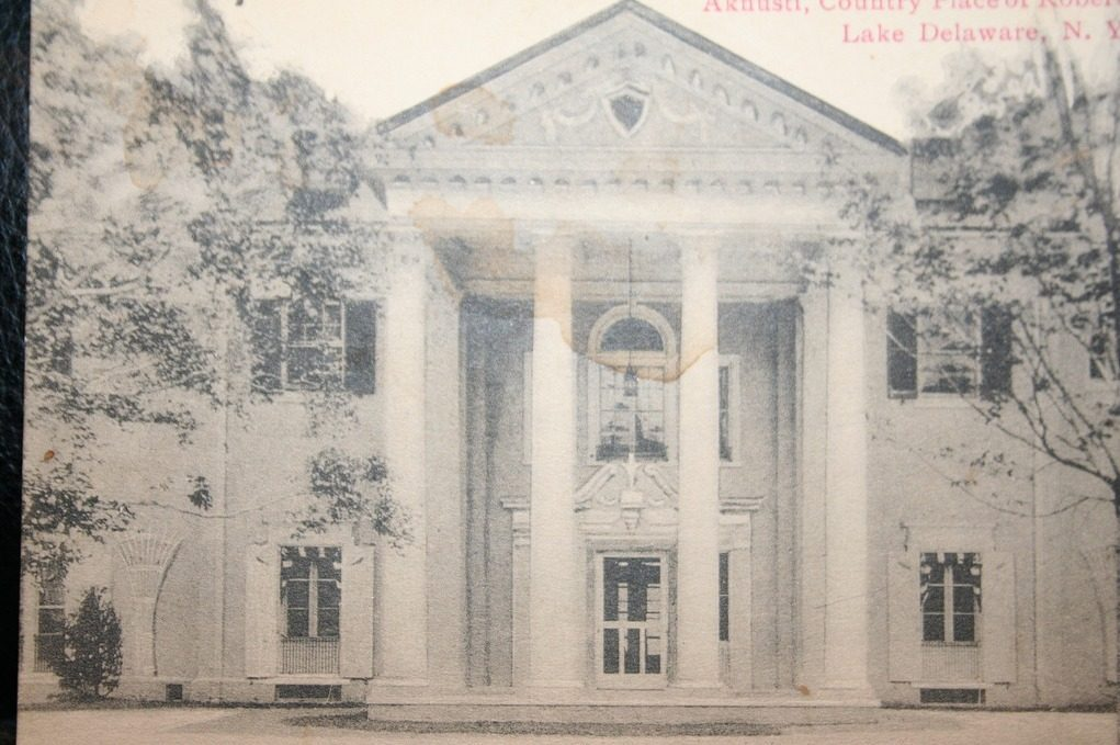 Circa-1925 postcard showing the exterior of the Aknusti Estate, owned by the illustrious Gerry family, outside of Andes, New York. Courtesy of Peter Hayes Millen.