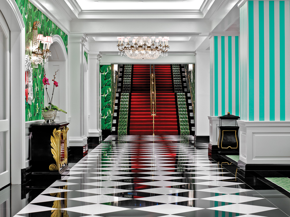 Dorothy Draper's signature black and white floor, shown here at the Greenbrier. All Greenbrier images courtesy of the Greenbrier.