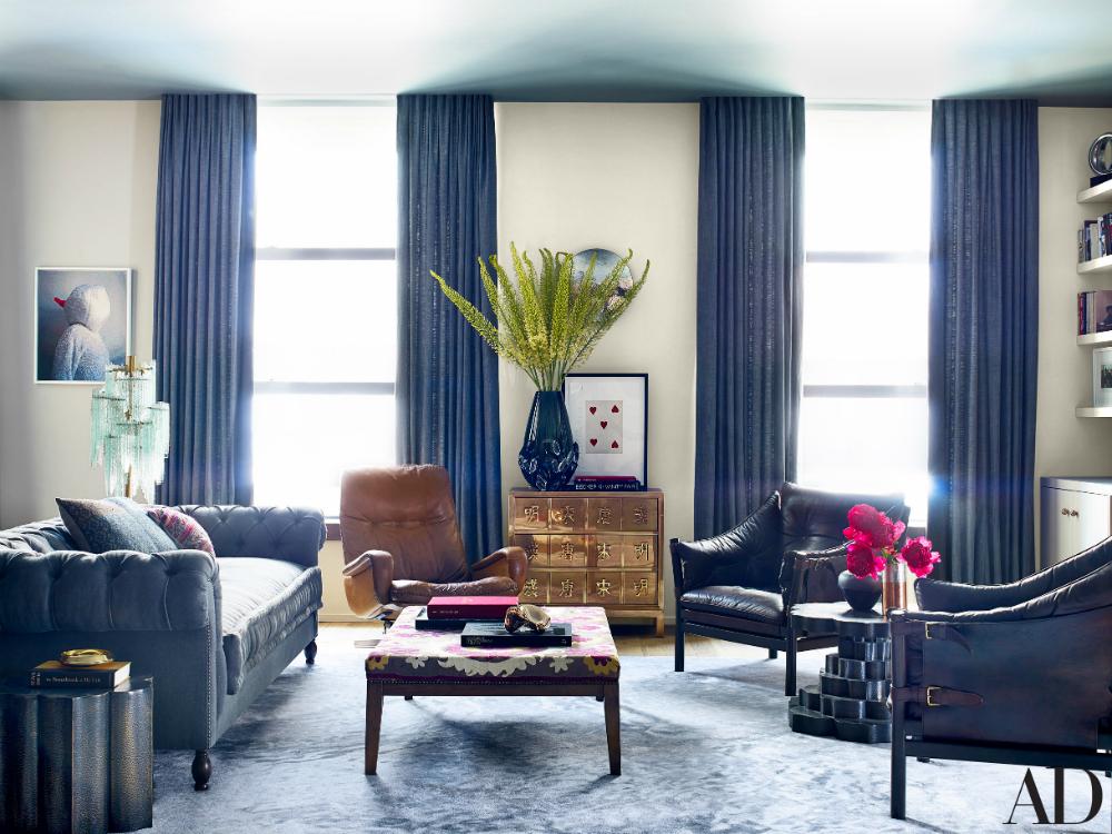 """Photo by William Waldron/<a href=""""http://www.architecturaldigest.com/decor/2015-02/john-legend-chrissy-teigen-don-stewart-designed-manhattan-apartment-article"""">Architectural Digest</a>"""